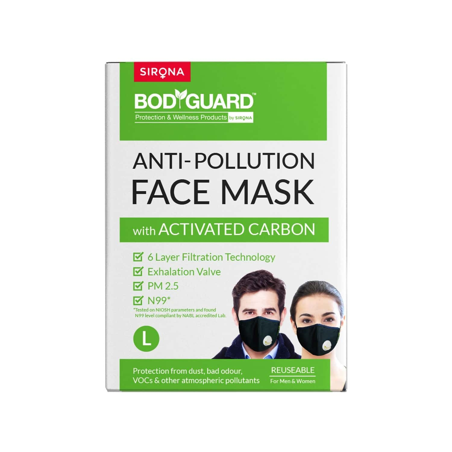 Bodyguard Reusable Activated Carbon(large) N99 Mask