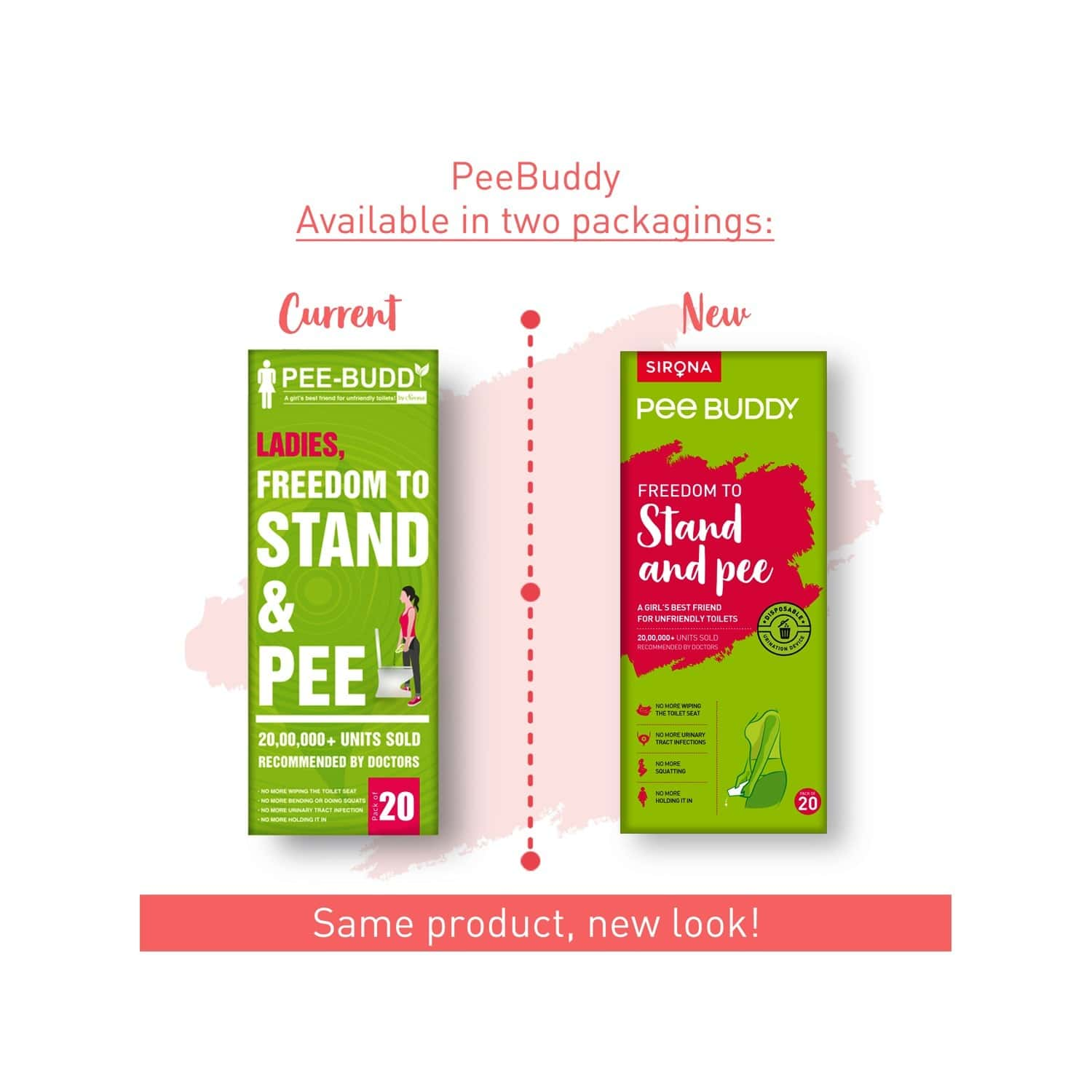 Peebuddy Stand & Pee Device For Women, Helps During Arthritis, Pregnancy & Road Trips, No More Squats - Pack Of 20