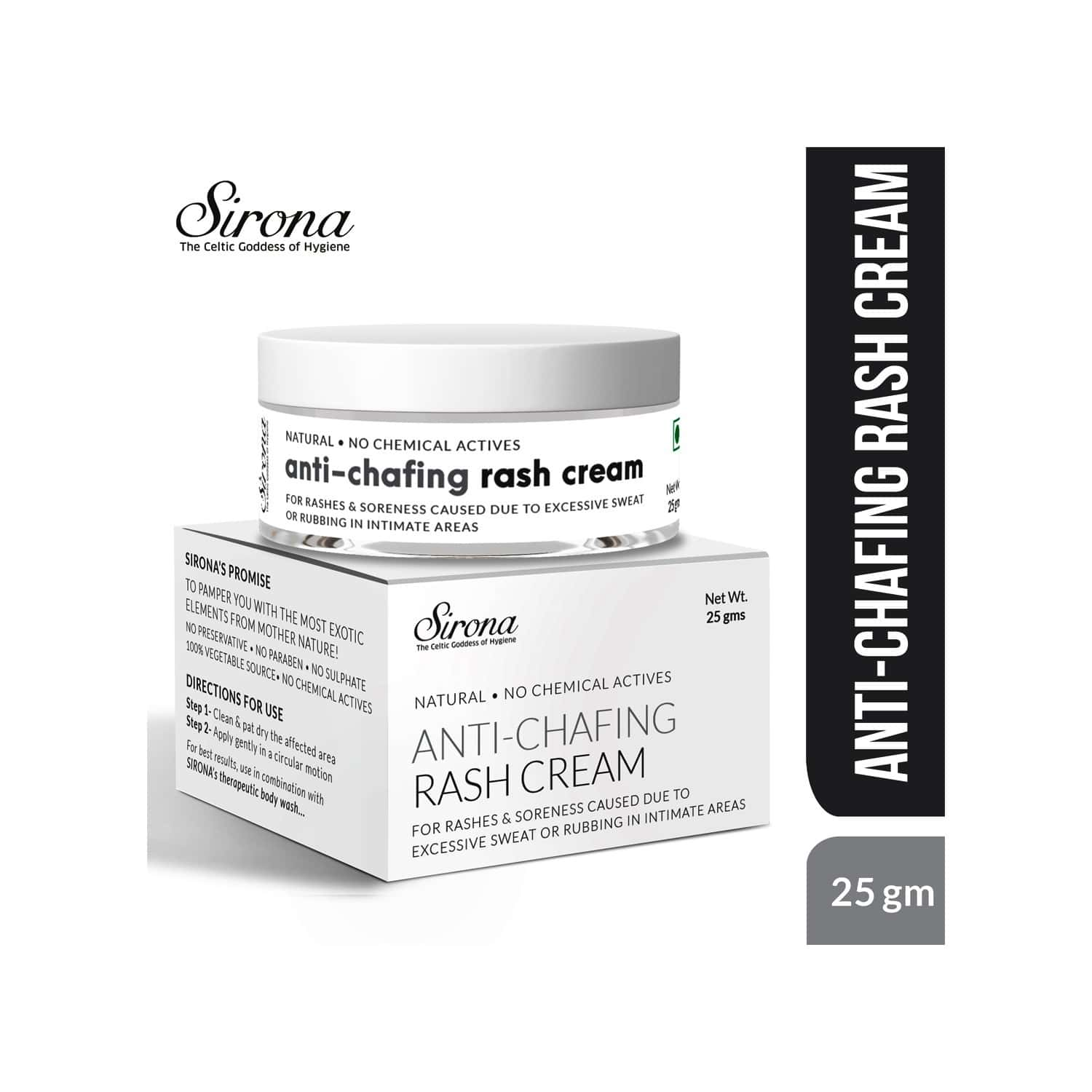 Sirona Natural Anti Chafing Rash Cream- 5 Magical Herbs - Help In Soothing Rashes Due To Pads, Heavy Thighs, Chaffing Due To Sports Activities - 25 Gm