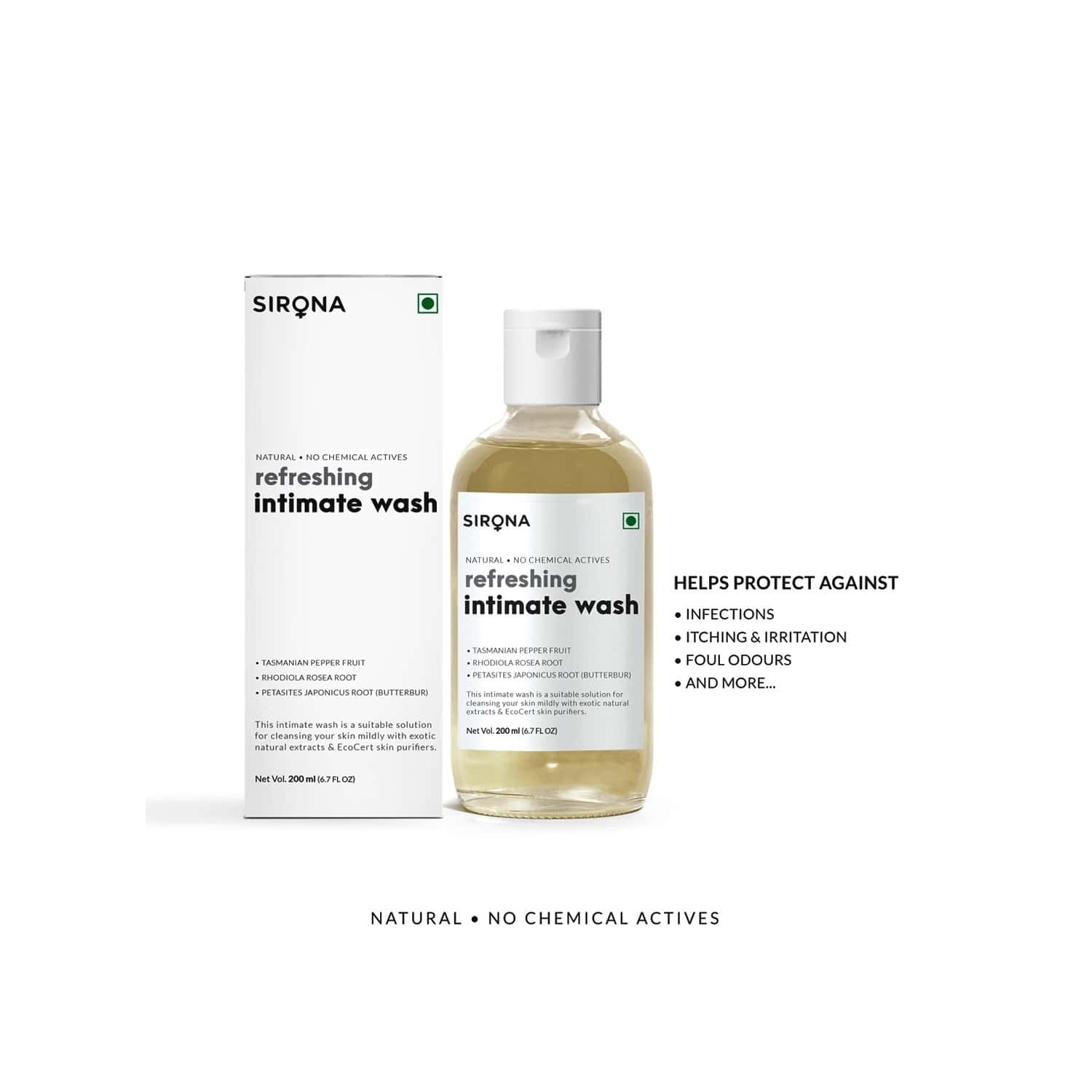 Sirona Natural Ph Balanced Intimate Wash With 5 Magical Herbs & No Chemical Actives - Helps Reduce Odor, Itching & Maintains Hygiene For Men And Women - 200 Ml