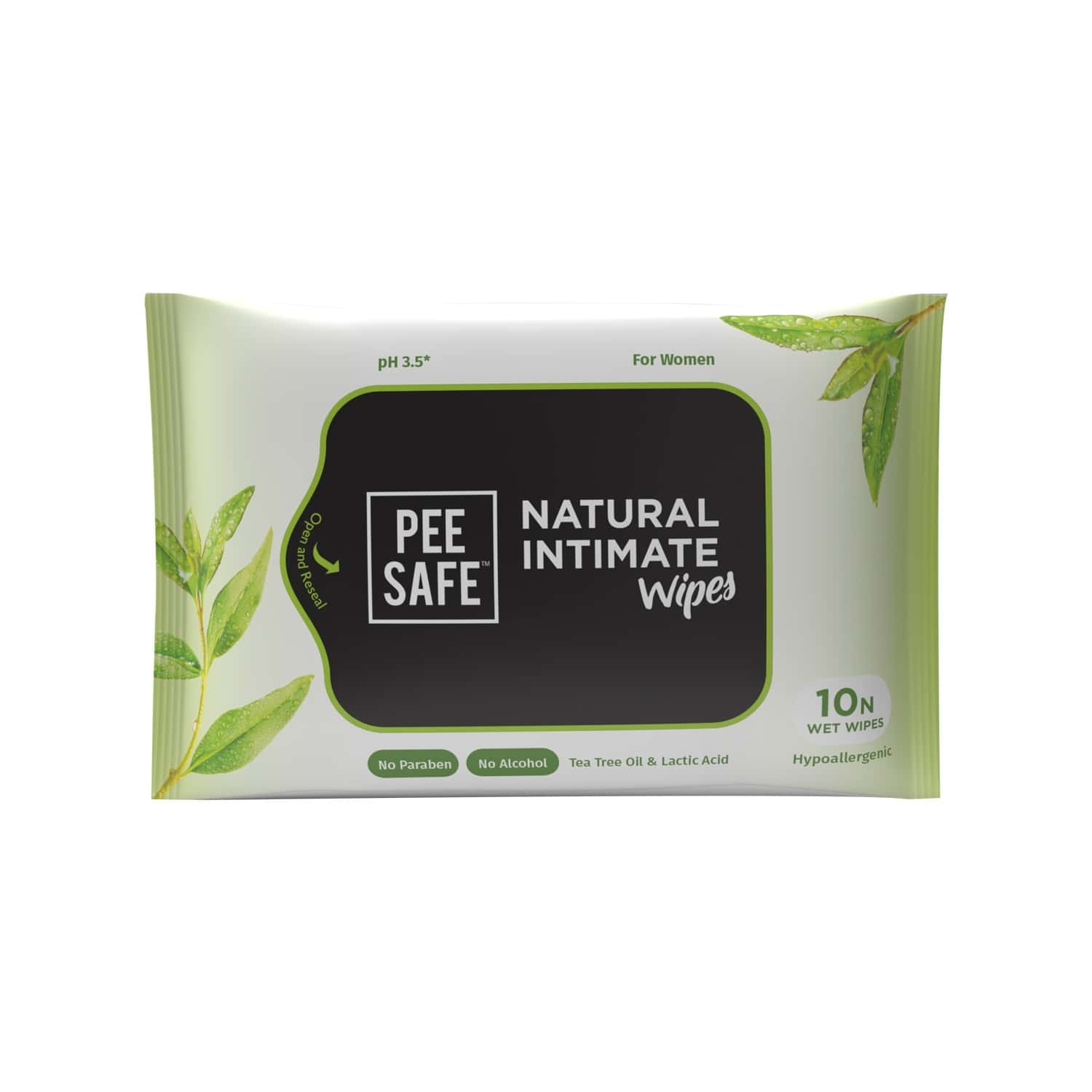 Pee Safe Natural Intimate Wipes - Pack Of 10