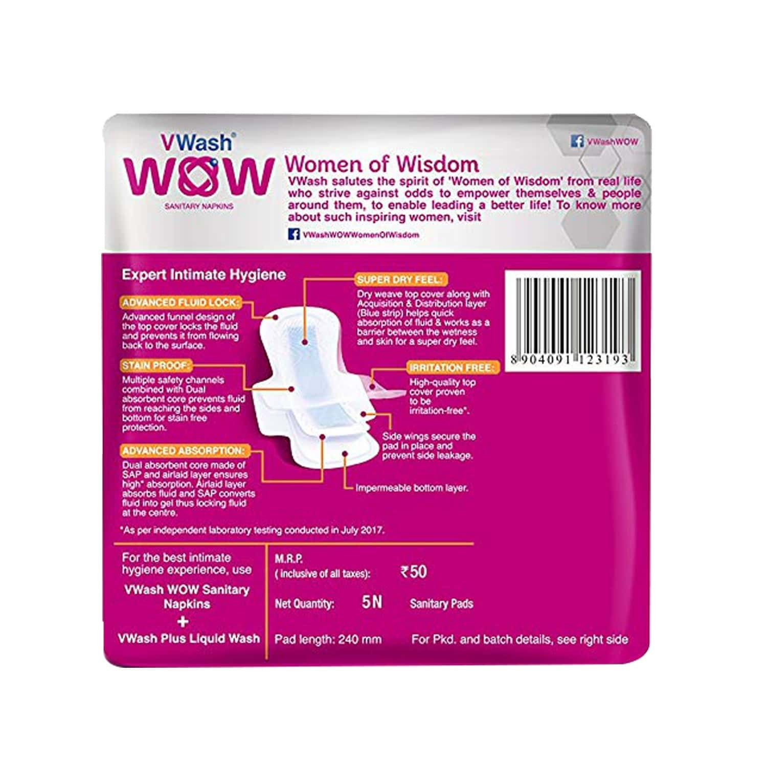 Vwash Wow Ultra Thin Size R Sanitary Pads Pack Of 30 (packs Of 6x5)