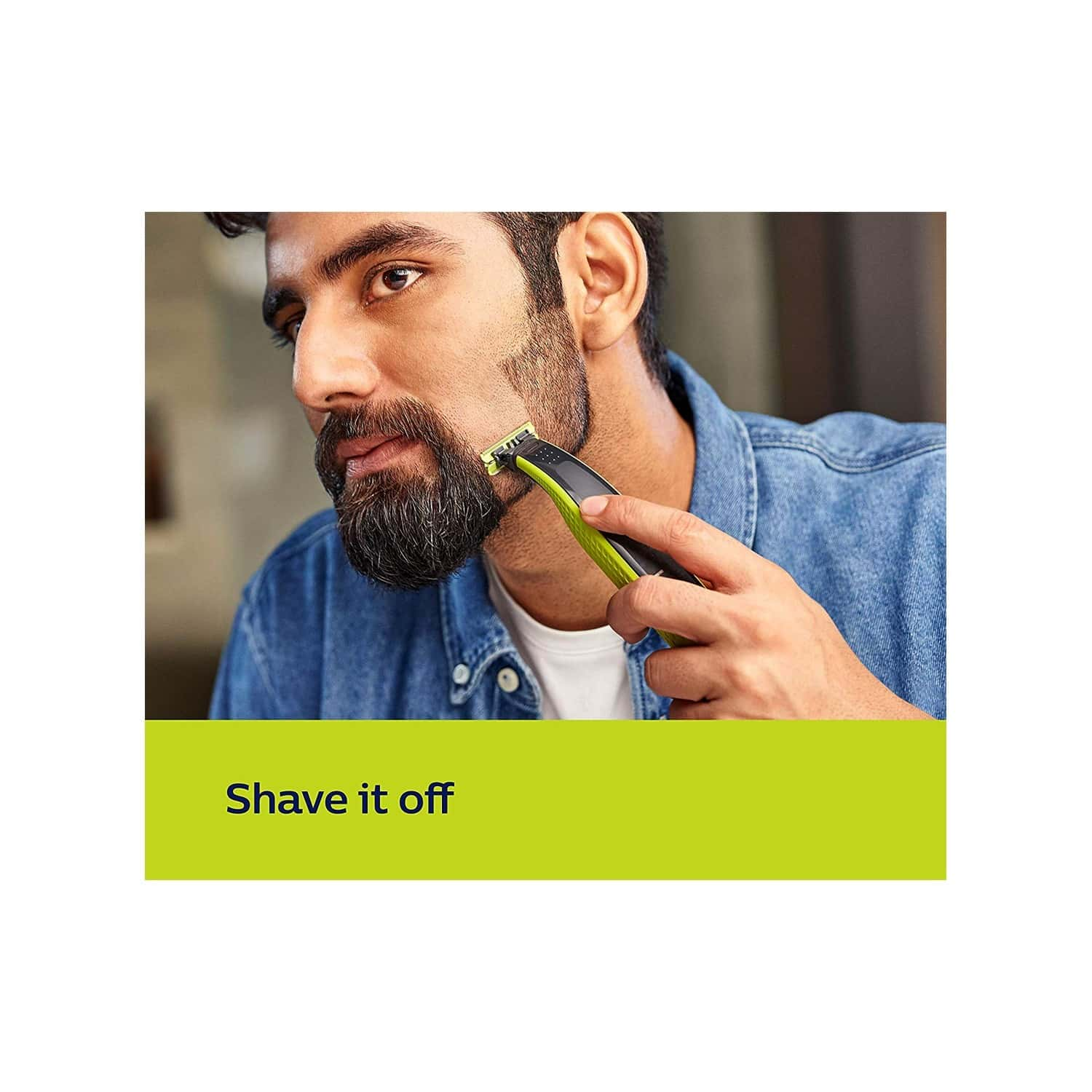 Philips Qp2525/10 One Blade Hybrid Trimmer And Shaver With 3 Trimming Combs (lime Green)
