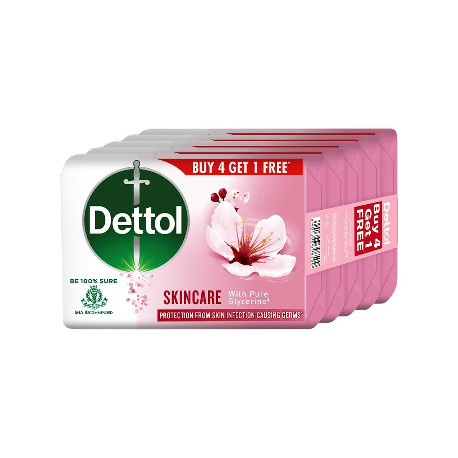 Dettol Skincare Bathing Soap Bar 125gm Each, Buy 4 Get 1 Free