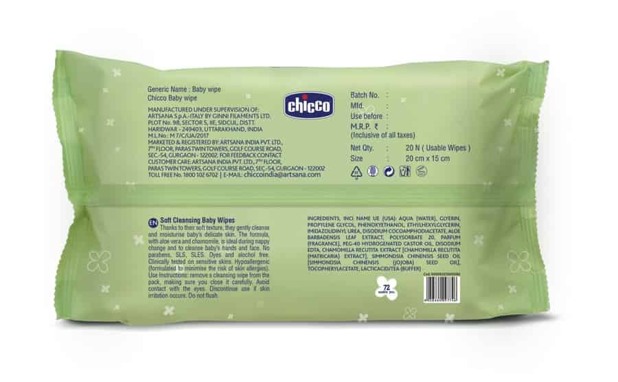 Chicco Baby Wipes Sticker 72 Pcs In