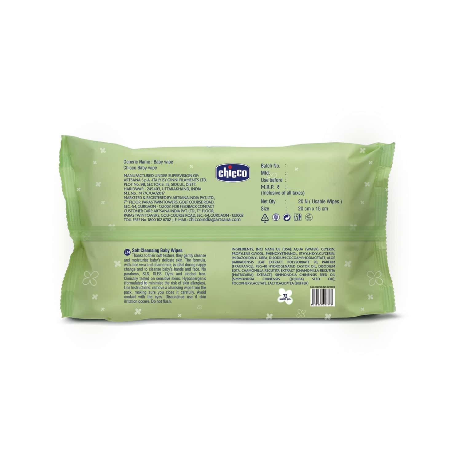 Chicco  Baby Wipes Sticker Packet Of 72
