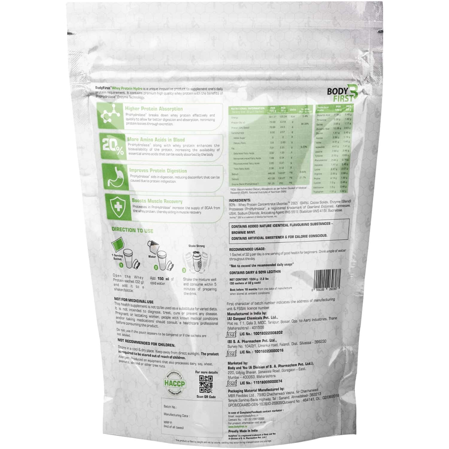 Bodyfirst Whey Protein Concentrate / Hydro With Prohydrolase Brownie Mint