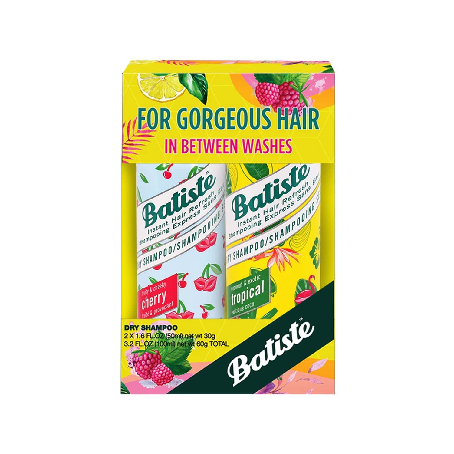 Batiste Value Kit Fruity & Cheeky Cherry, Coconut & Exotic Tropical Dry Shampoo - 100ml (pack Of 2 X 50ml)
