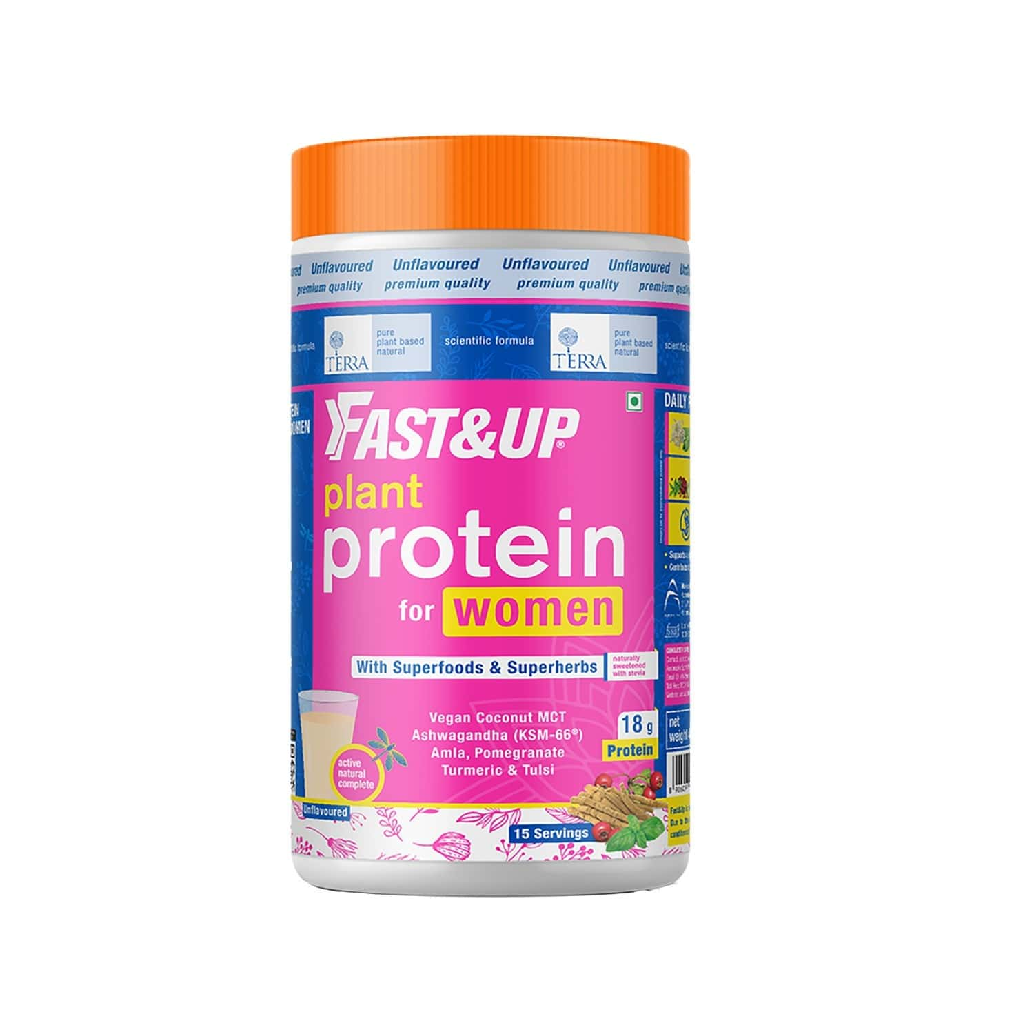 Fast & Up Terra Plant Protein For Women - Superfood And Superherbs - Weight And Hormone Management - Better Skin And Complete Health - 15 Servings - Unflavoured - 450g