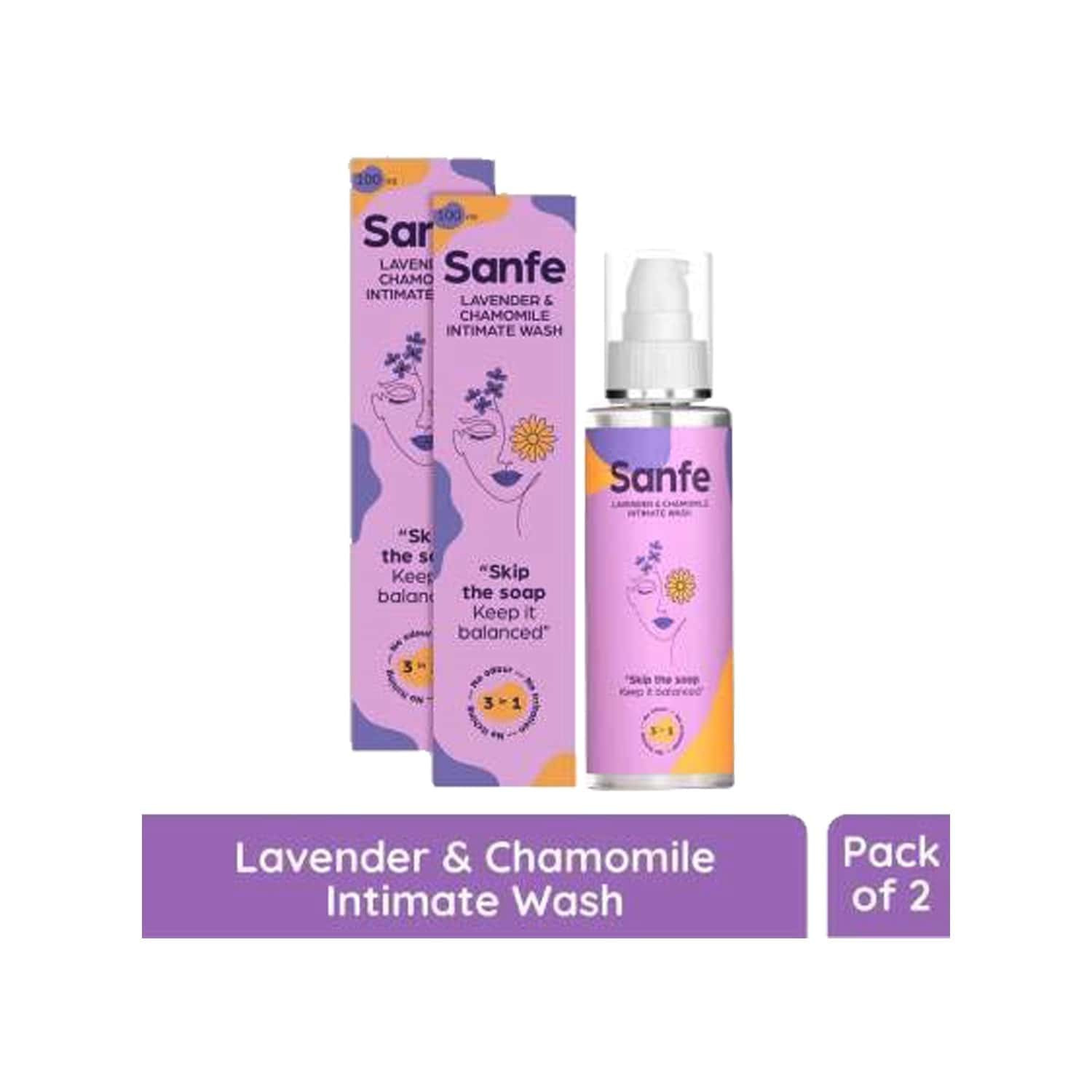 Sanfe Natural Intimate Wash, 3 In 1 - No Odour, No Itching, No Irritation - Lavender & Chamomile (100ml) - Pack Of 2