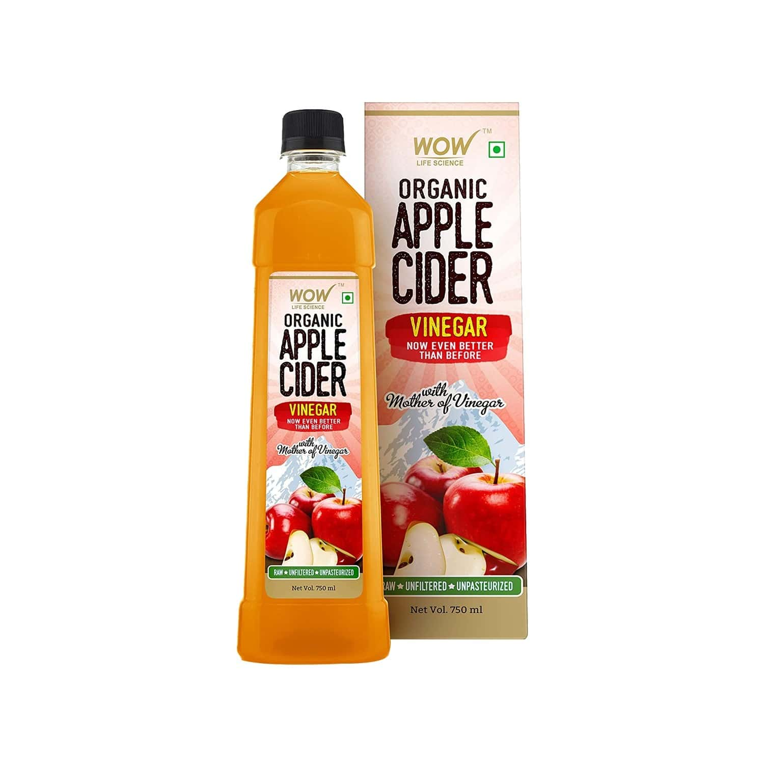 Wow Life Science Organic Apple Cider Vinegar - 750 Ml