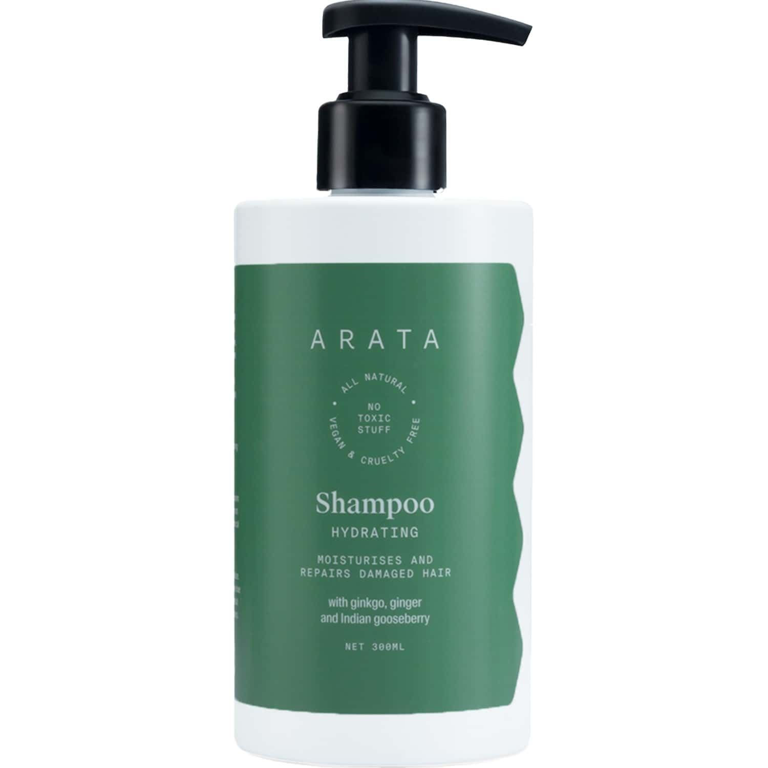Arata Natural Hydrating Hair Shampoo With Ginkgo, Ginger & Indian Gooseberry For Women & Men    All-natural, Vegan & Cruelty-free    Moisturizes & Repairs Damaged Hair - (300 Ml)