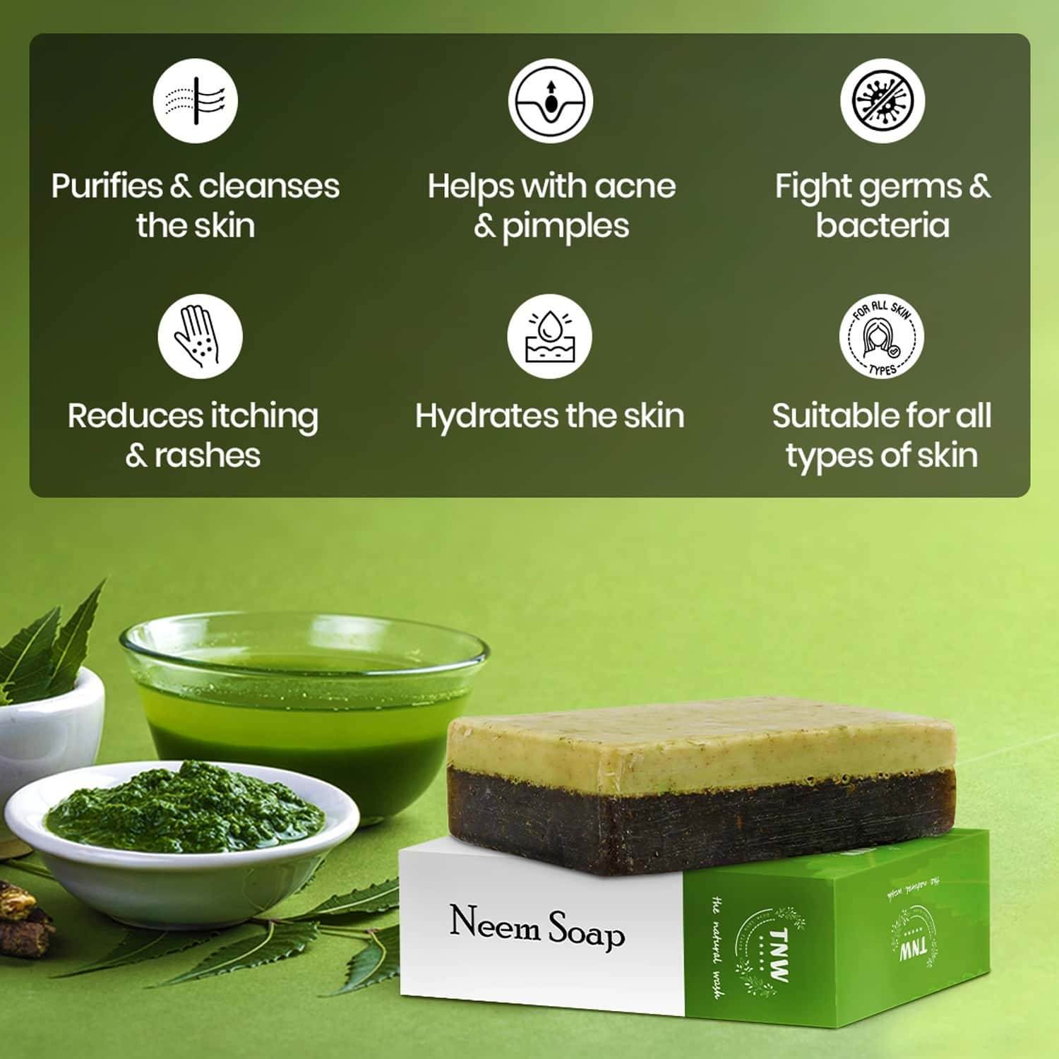 Tnw -the Natural Wash Handmade Purifying Neem Soap For Acne And Rashes - 100 Gm