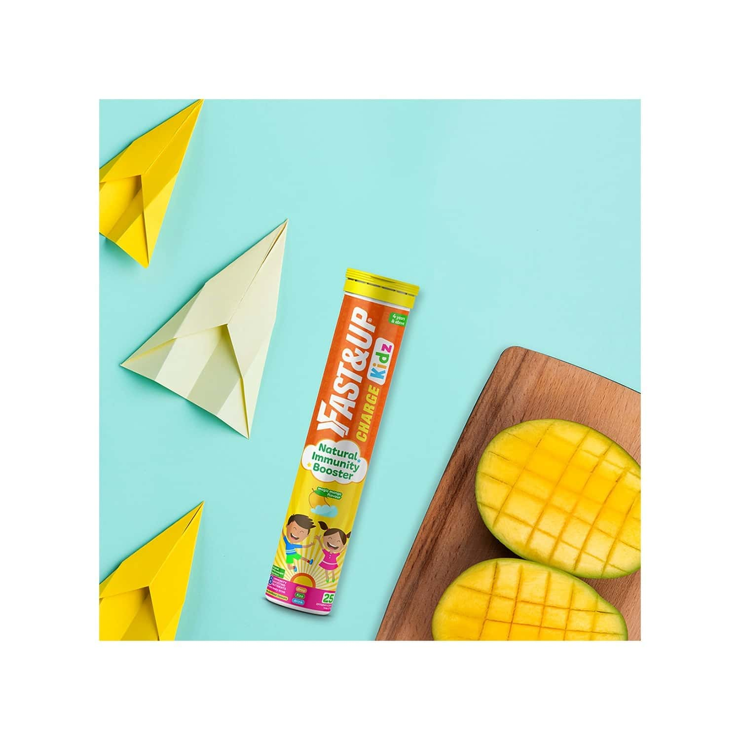 Fast&up Charge Kids With Active Vitamin C Complex, Super Immunity Herbs And Pro Immunity Vitamins & Minerals - Mango Flavour