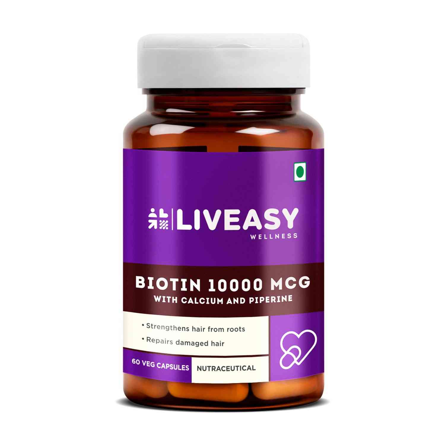 Liveasy Wellness Biotin 10000mcg With Calcium - Natural Protein For Hair - Prevents Hair Fall - Bottle Of 60