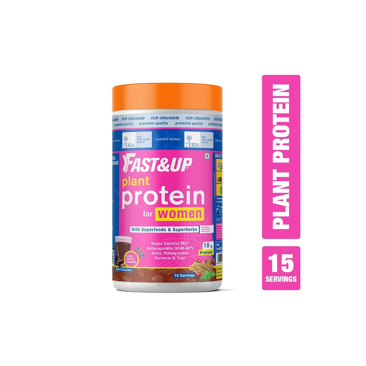 Fast & Up Terra Plant Protein For Women - Superfood And Superherbs - Weight And Hormone Management - Better Skin And Complete Health - 15 Servings - Chocolate Flavour - 450g