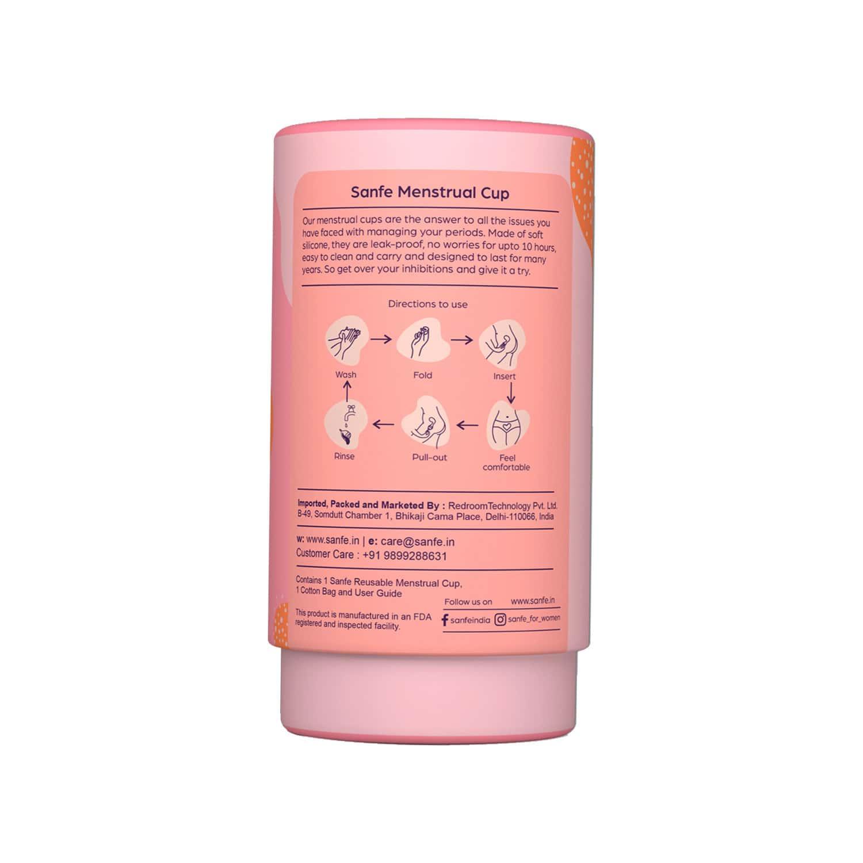 Sanfe Reusable Menstrual Cup With No Rashes, Leakage Or Odor - Premium Design For Women - Medium
