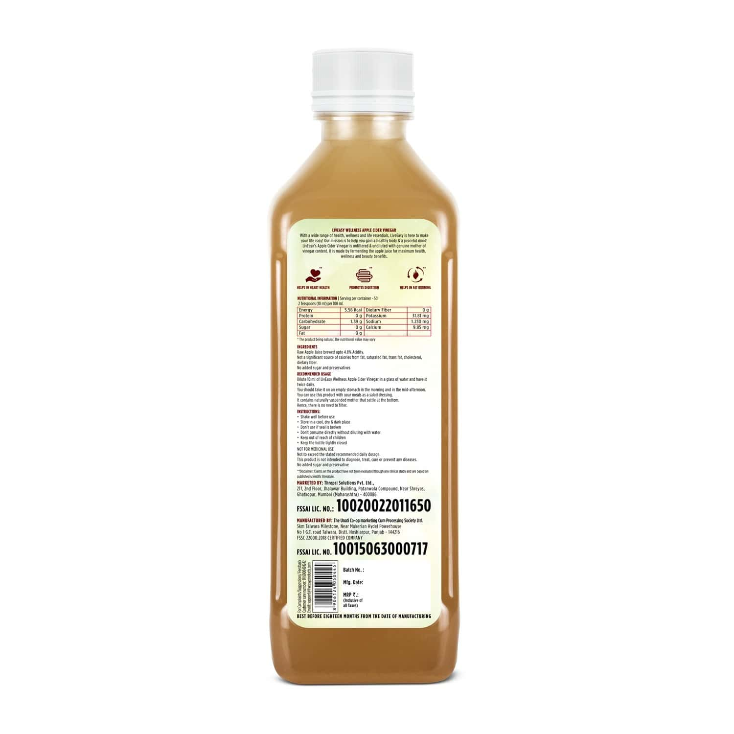 Liveasy Wellness Apple Cider Vinegar With Mother -original Raw & Unfiltered- Supports Weight Management - Bottle Of 500ml