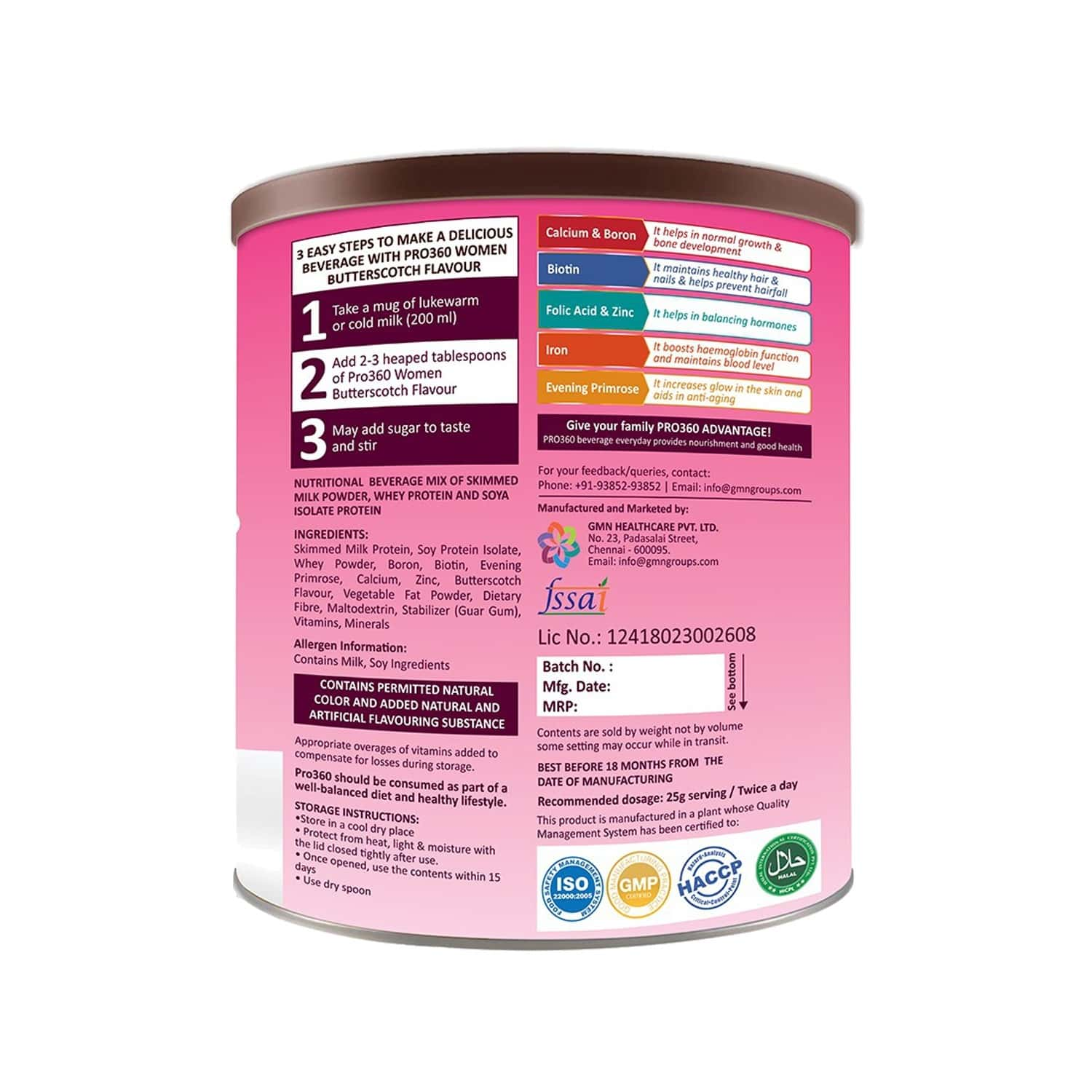 Pro360 Butterscotch Maternal Nutrition Drink Tin Of 250 G