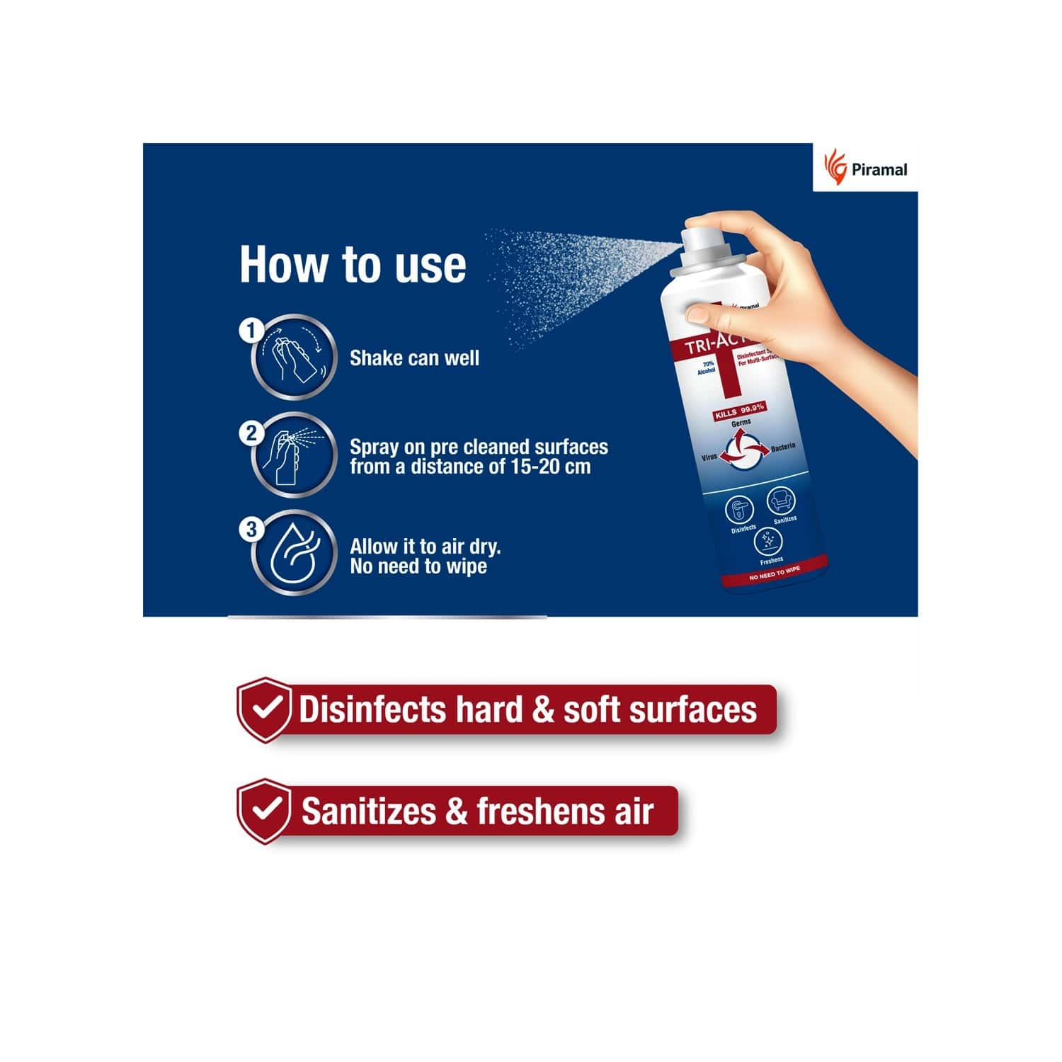 Tri-activ Disinfectant Spray For Multi-surfaces 70% Alcohol Based - 100ml