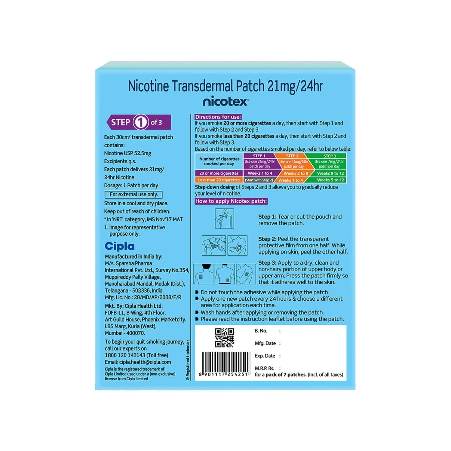 Nicotex Nicotine Patch 21mg (7 Patches) helps Quit Smoking 