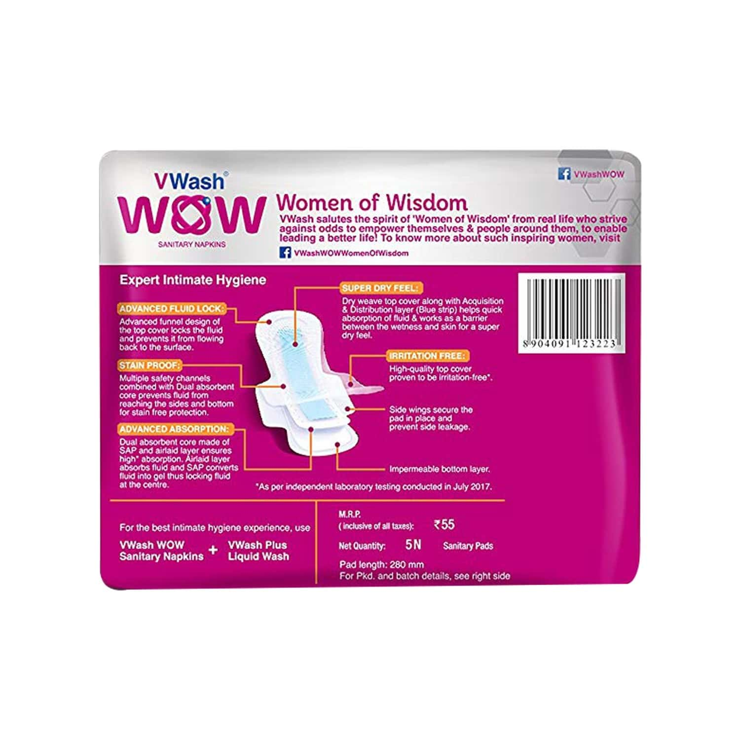 Vwash Wow Ultra Thin Size L Sanitary Pads Pack Of 30 (packs Of 6x5)