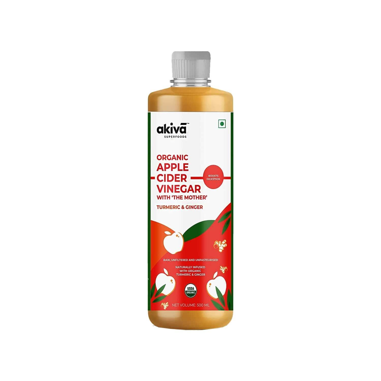 Akiva Superfoods Turmeric ( Haldi ) And Ginger ( Adrak ) Apple Cider Vinegar With 'mother' For Diabetic Care, Unfiltered, Unpasteurised - 500ml
