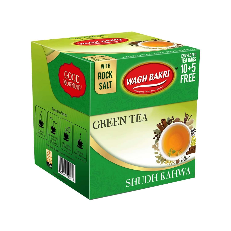 Wagh Bakri Green Tea Shudh Kahwa Tea Bag, 37.5 G (15 T-bag)