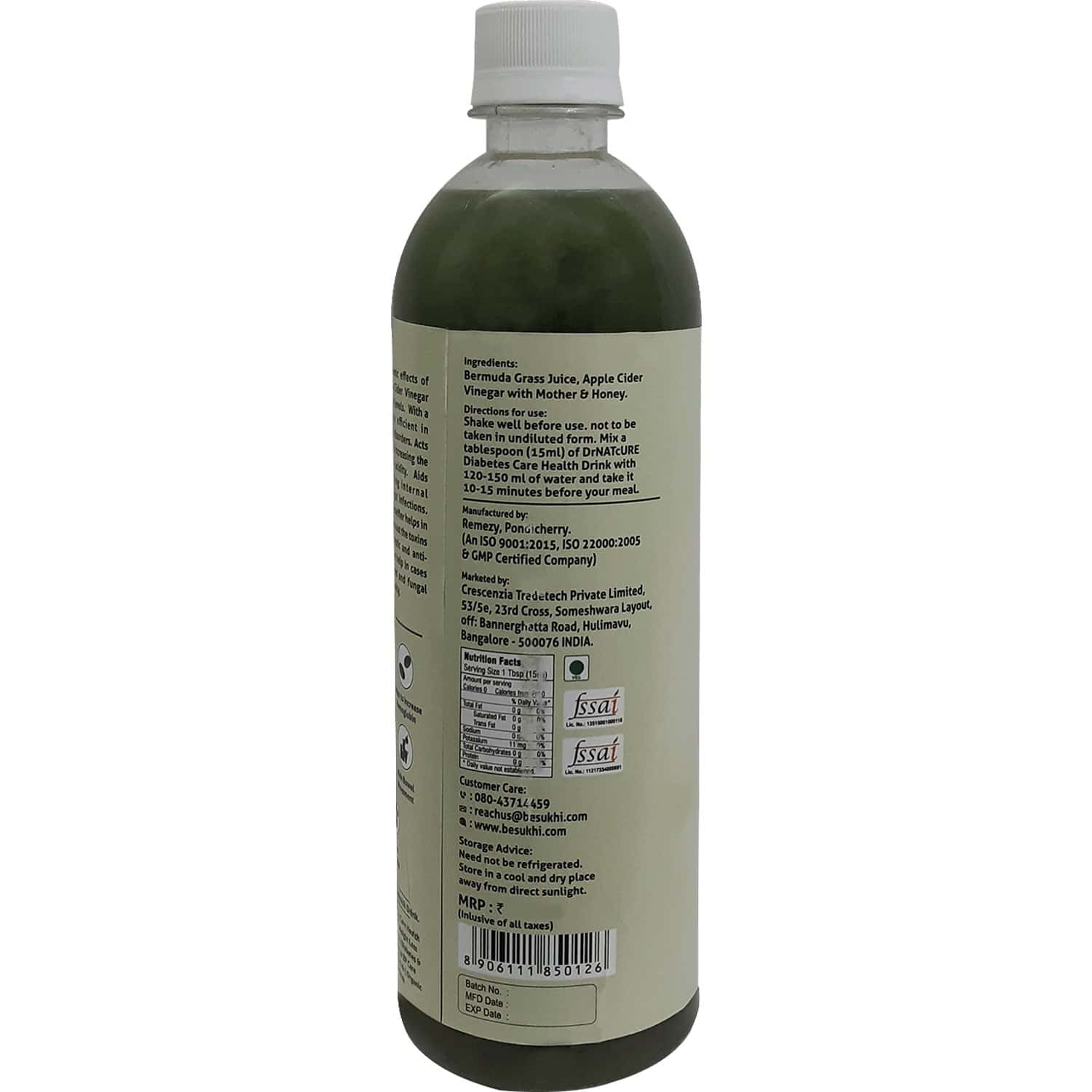 Drnatcure Apple Cider Vinegar Blended With Bermuda Grass(anti-diabetic) And Honey-500 Ml+50 Ml Free