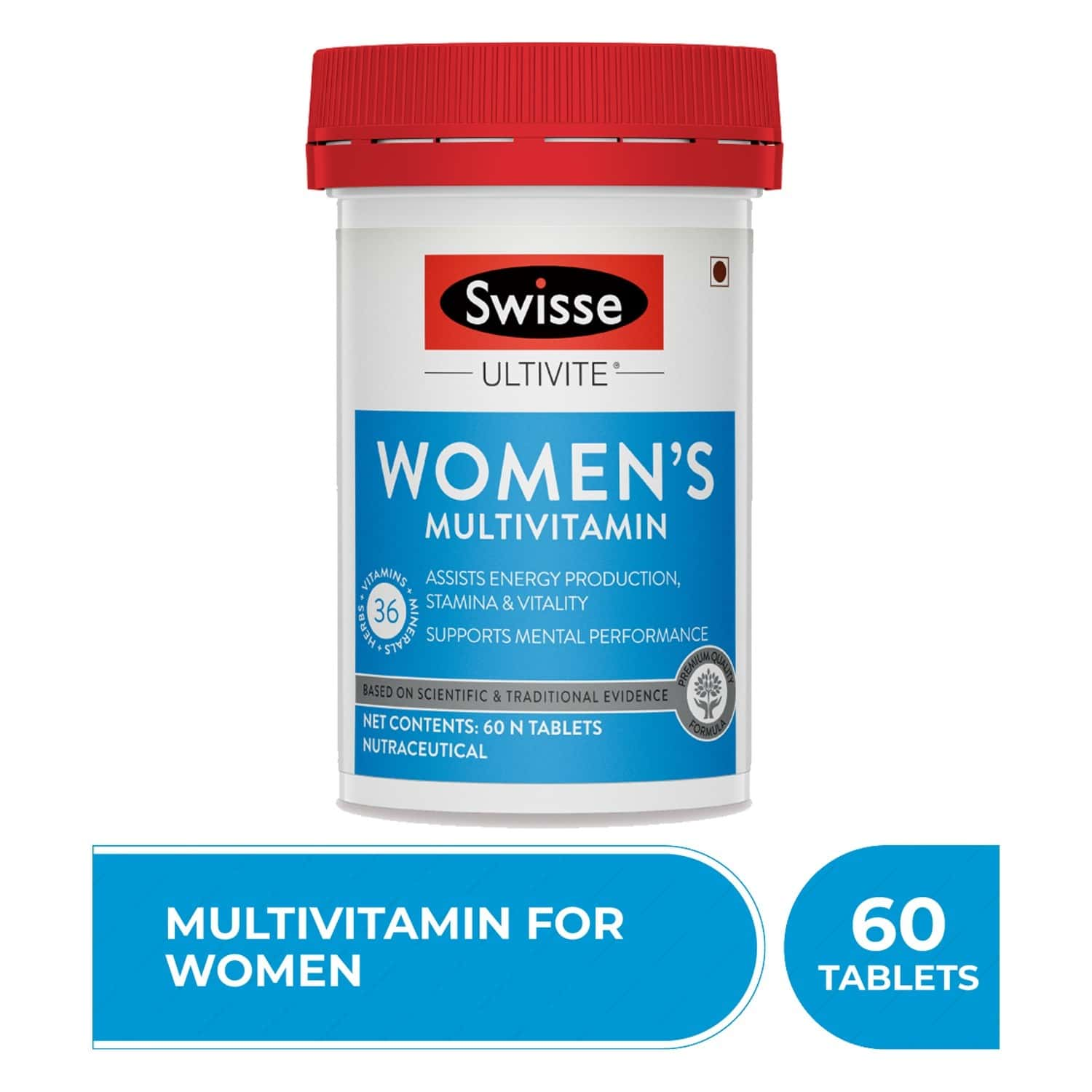 Swisse Ultivite Women's Multivitamin (36 Herbs Vitamins & Minerals) For Energy Stamina Vitality And Mental Performance - 60 Tablets