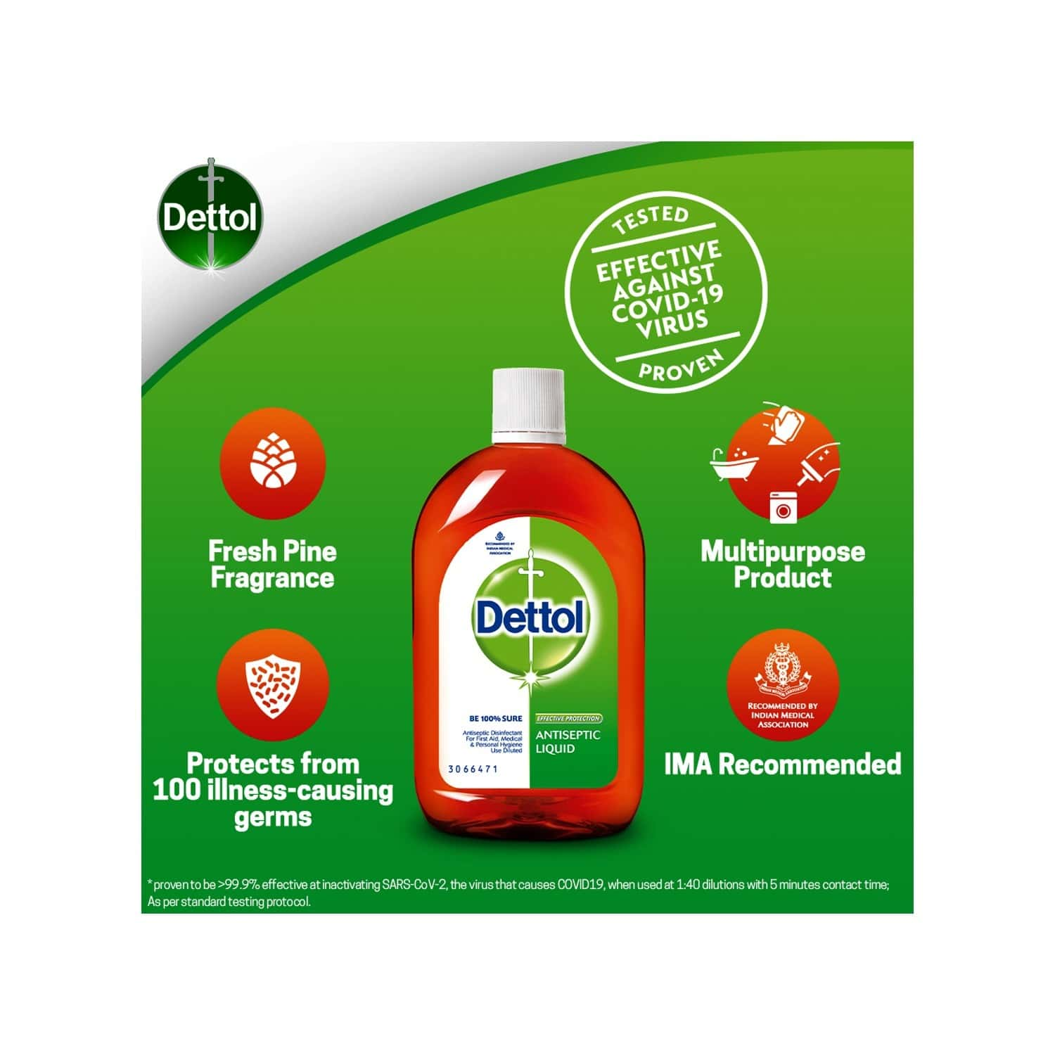 Dettol Antiseptic Disinfectant Liquid For First Aid, Surface Cleaning And Personal Hygiene - 1000 Ml With Dettol Clinical Strength Antiseptic Hand Sanitizer - 500ml