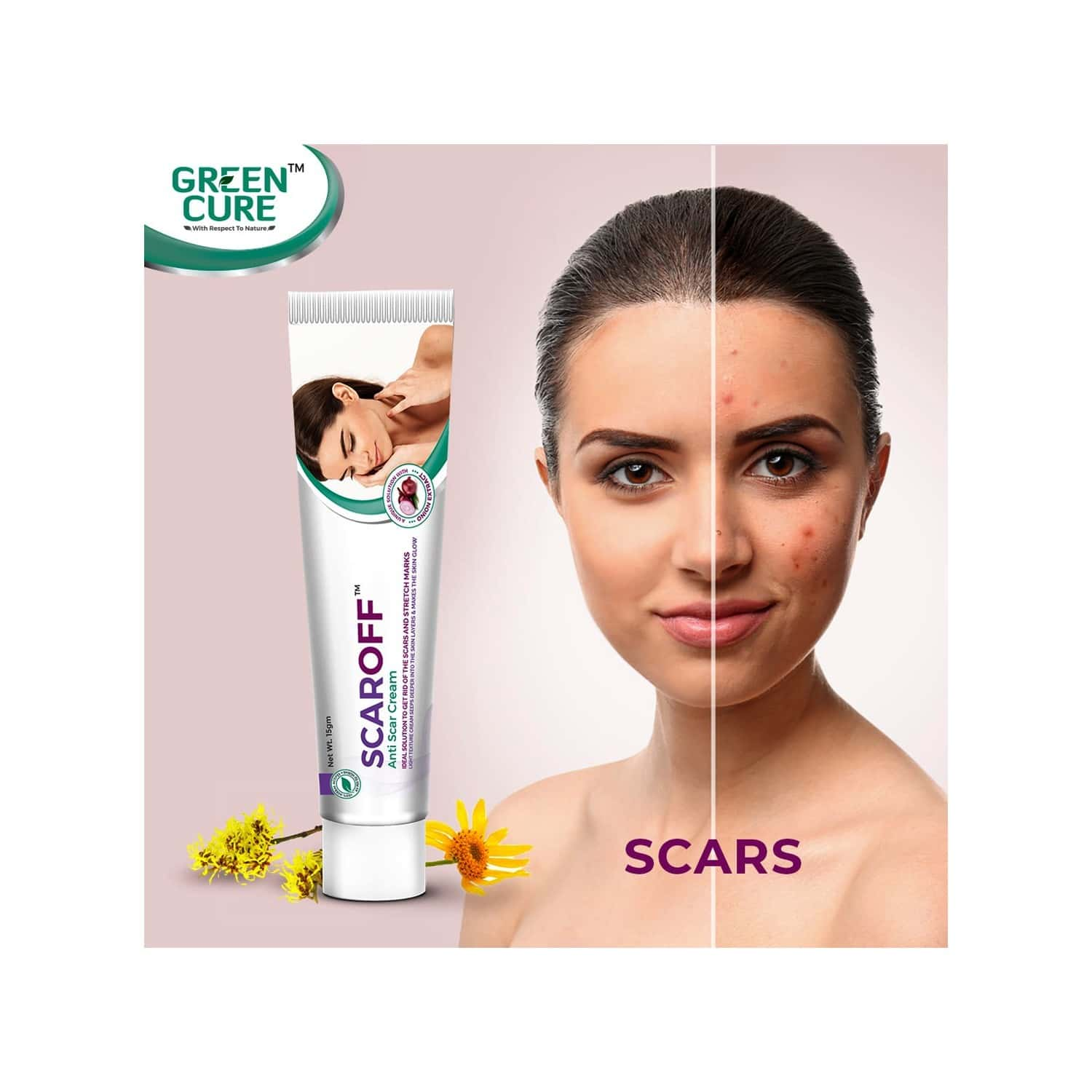 Green Cure Scaroff Scar Removal Cream, For Pimple Marks, Dark Spots, Blemishes & Stretch Marks With Arnica & Magnolia Extract - 15gm