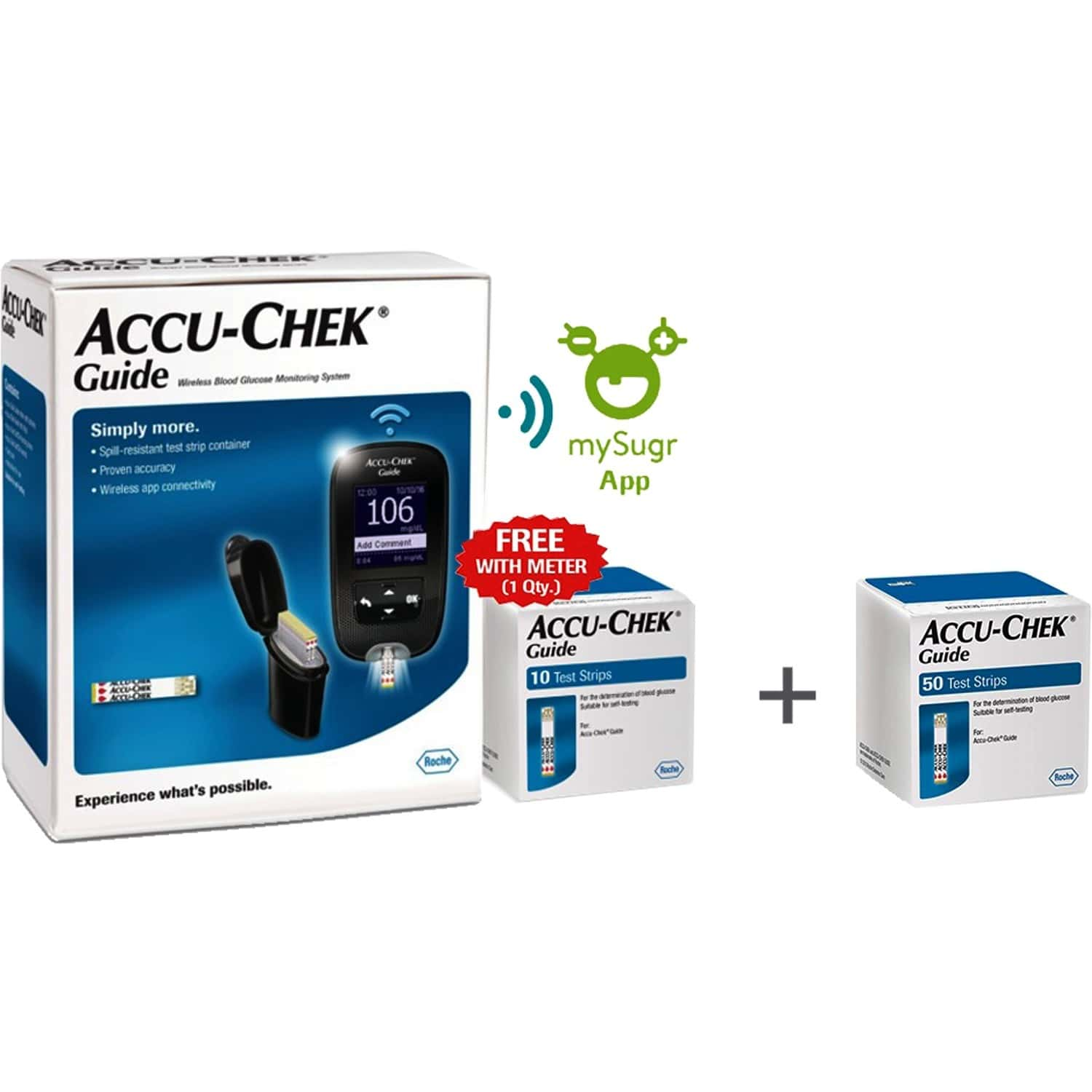 Accu-chek Guide Meter (bluetoooth) With 10 Strips + Accu-chek Guide 50 Strips