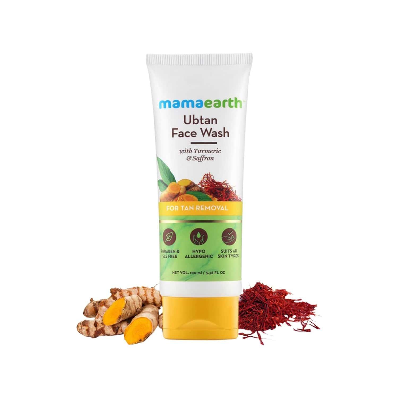 Mamaearth Skin Lightening & Brightening Combo Turmeric & Saffron Ubtan Facemask 100ml + Facewash - 100ml