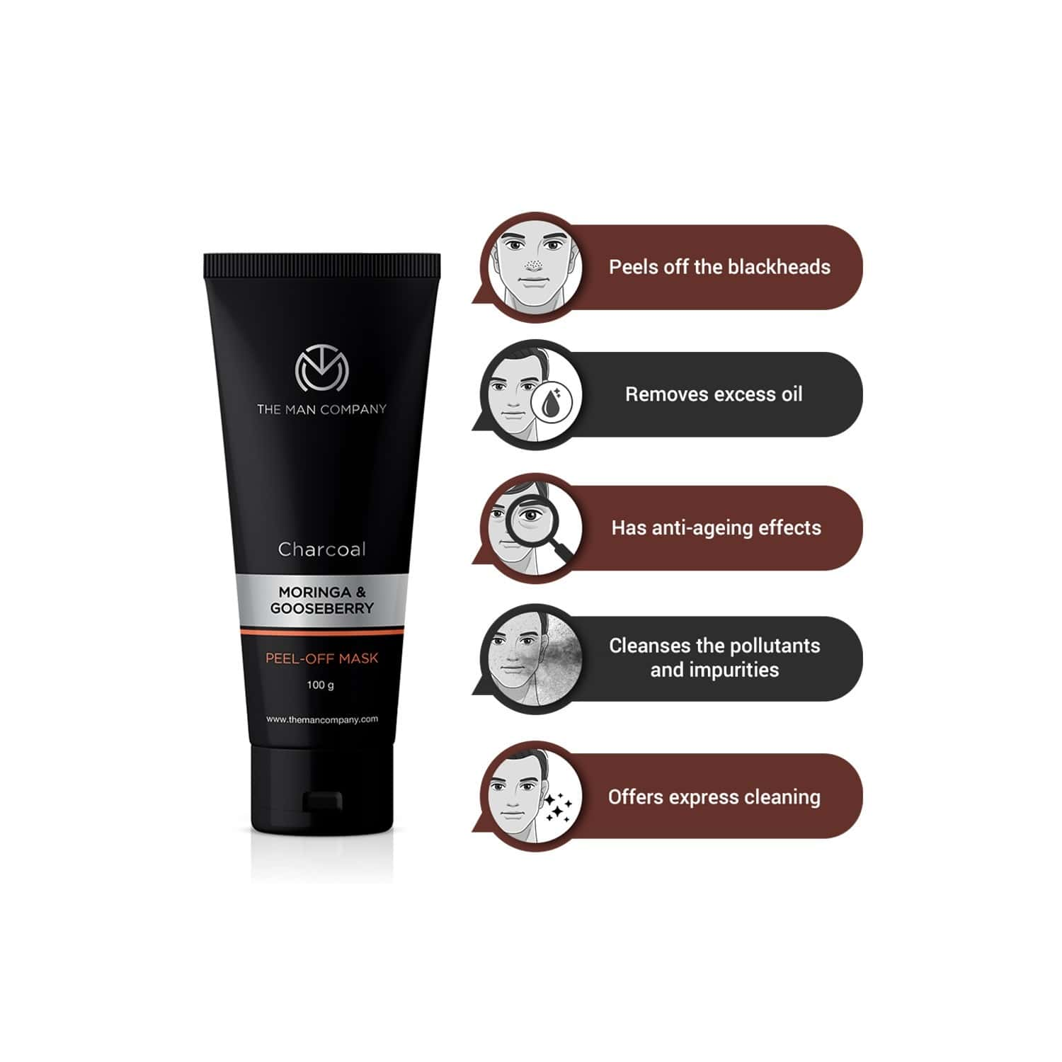 The Man Company Charcoal Peel Off Mask To Remove Blackheads, Dead Skin - 100 Gm