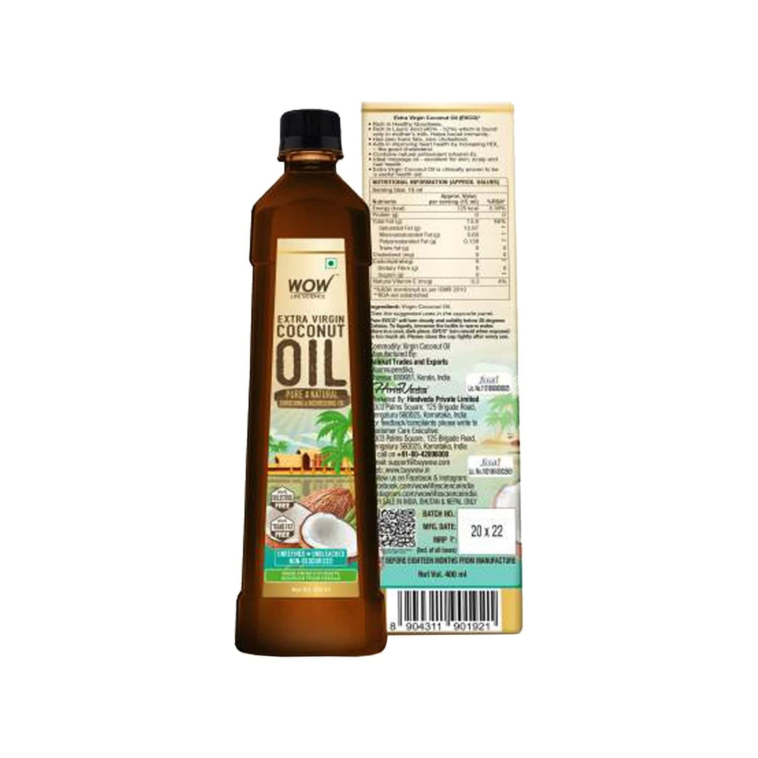 Wow Life Science Extra Virgin Coconut Oil - 400ml