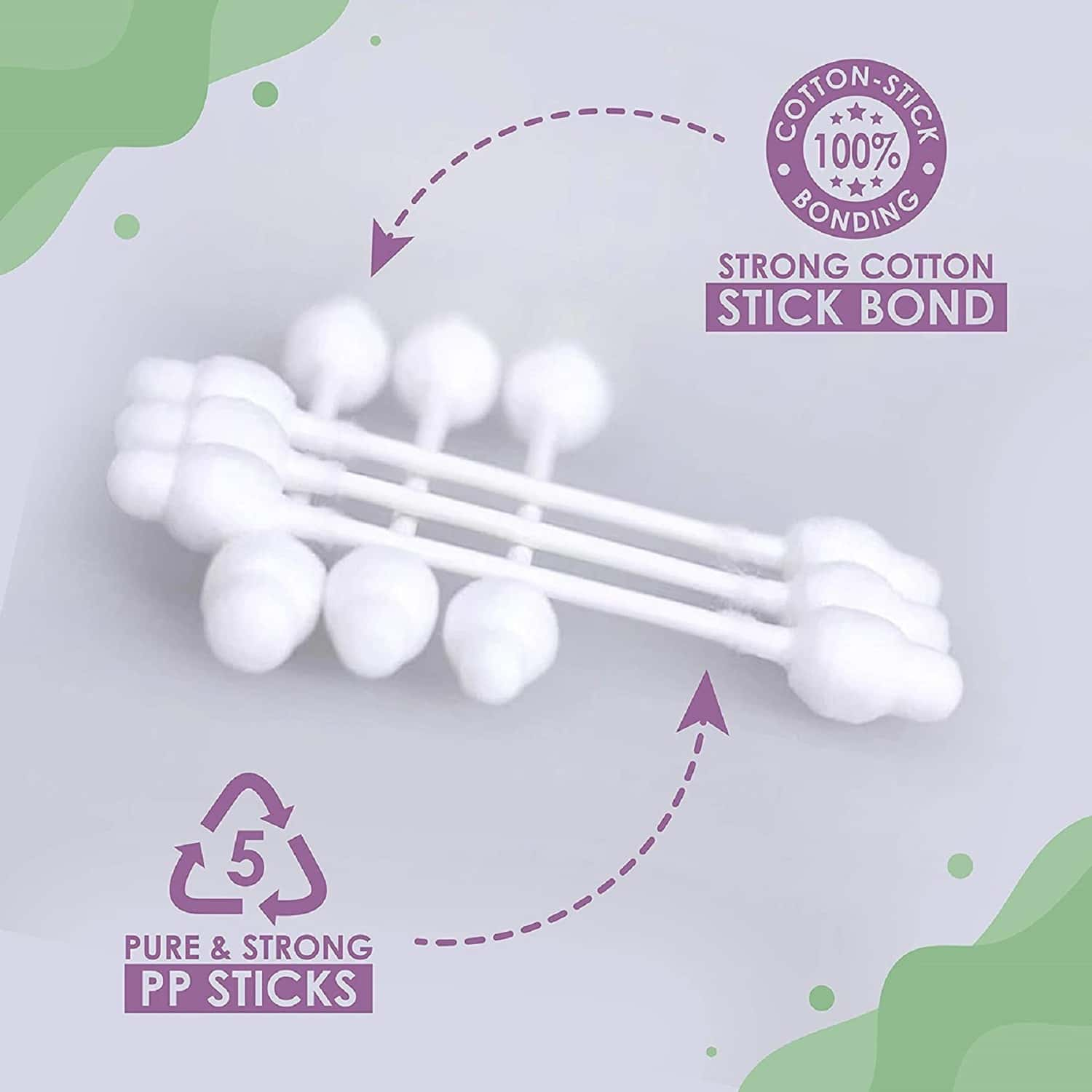 Luvlap Baby 100% Unbleached Cotton Buds For Ear Cleaning With Ear Drum Protection, 55 Pcs, White
