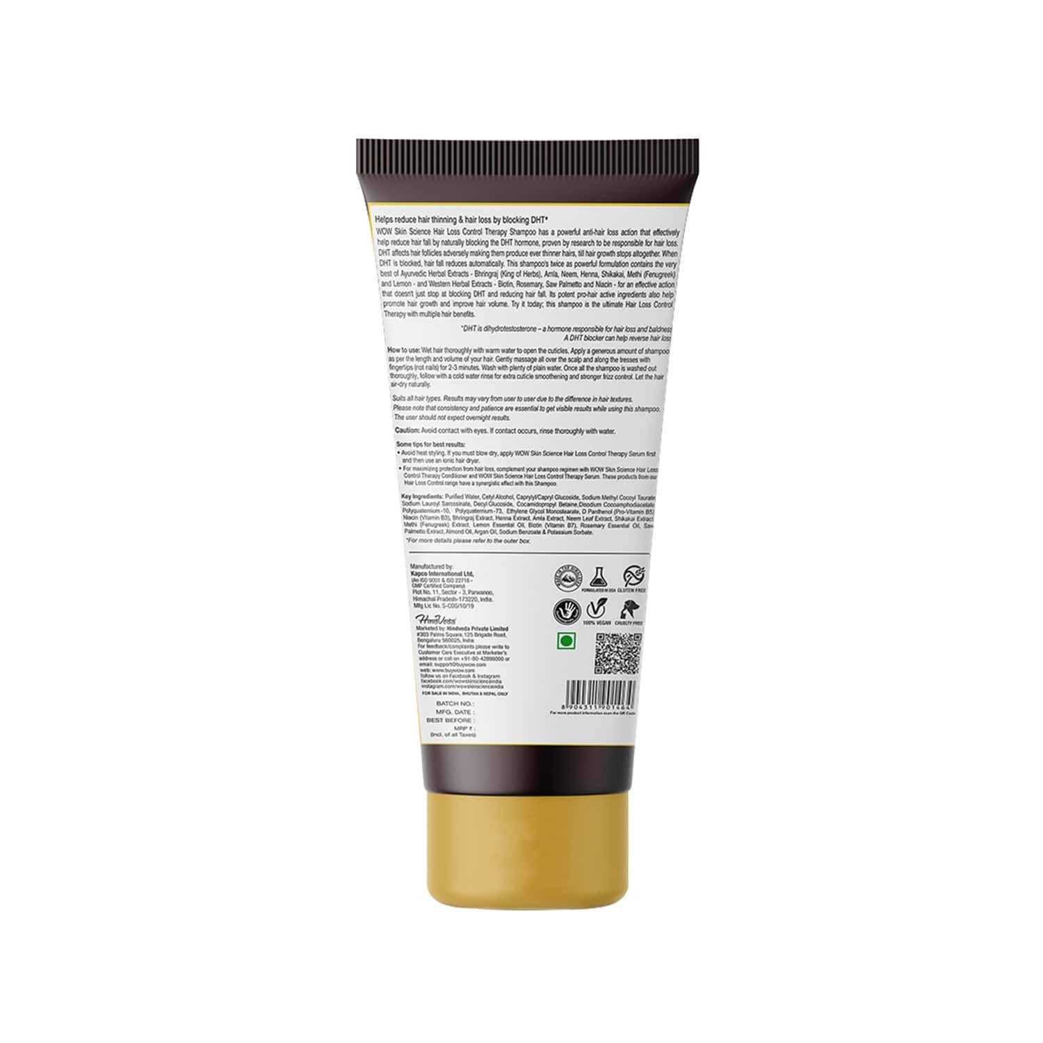 Wow Skin Science  Hair Loss Control Therapy Shampoo  Tube Of 200 Ml