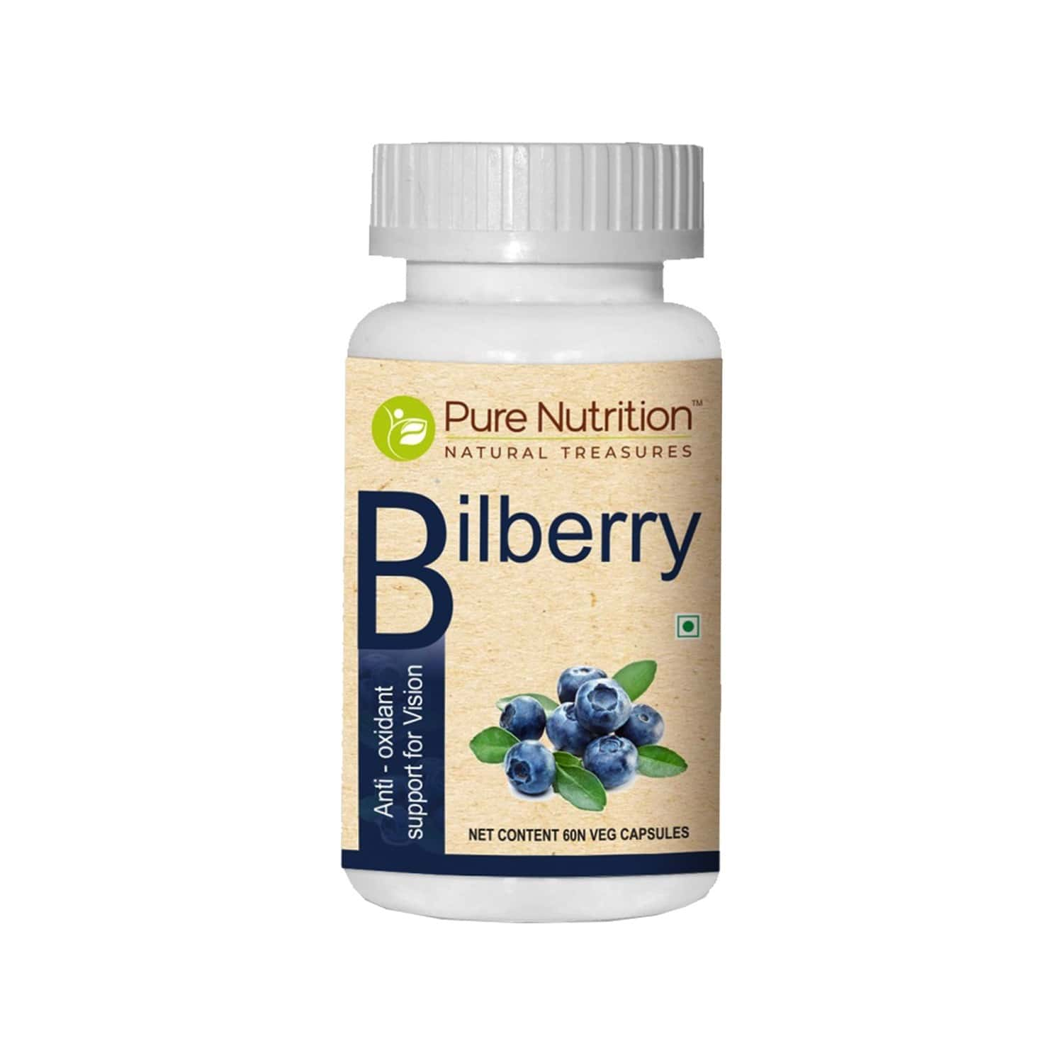 Pure Nutrition Bilberry | Natural Antioxidant Support For Vision| With Bilberry Extracts & Carrot Powder| Maintains Healthy Vision & Protects From Oxidative Damage From Blue Light| 60 Veg Capsules