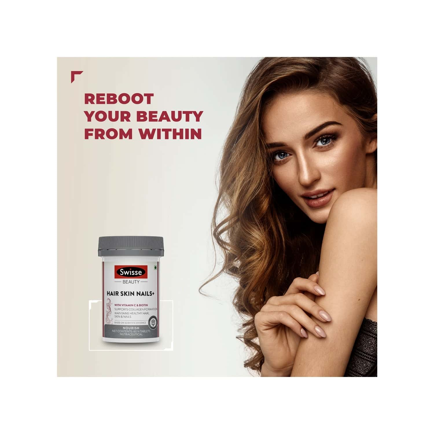 Swisse Beauty Hair Skin Nails+ With Vitamin C And Biotin For Healthy Hair Radiant Skin And Stronger Nails - 60 Tablets