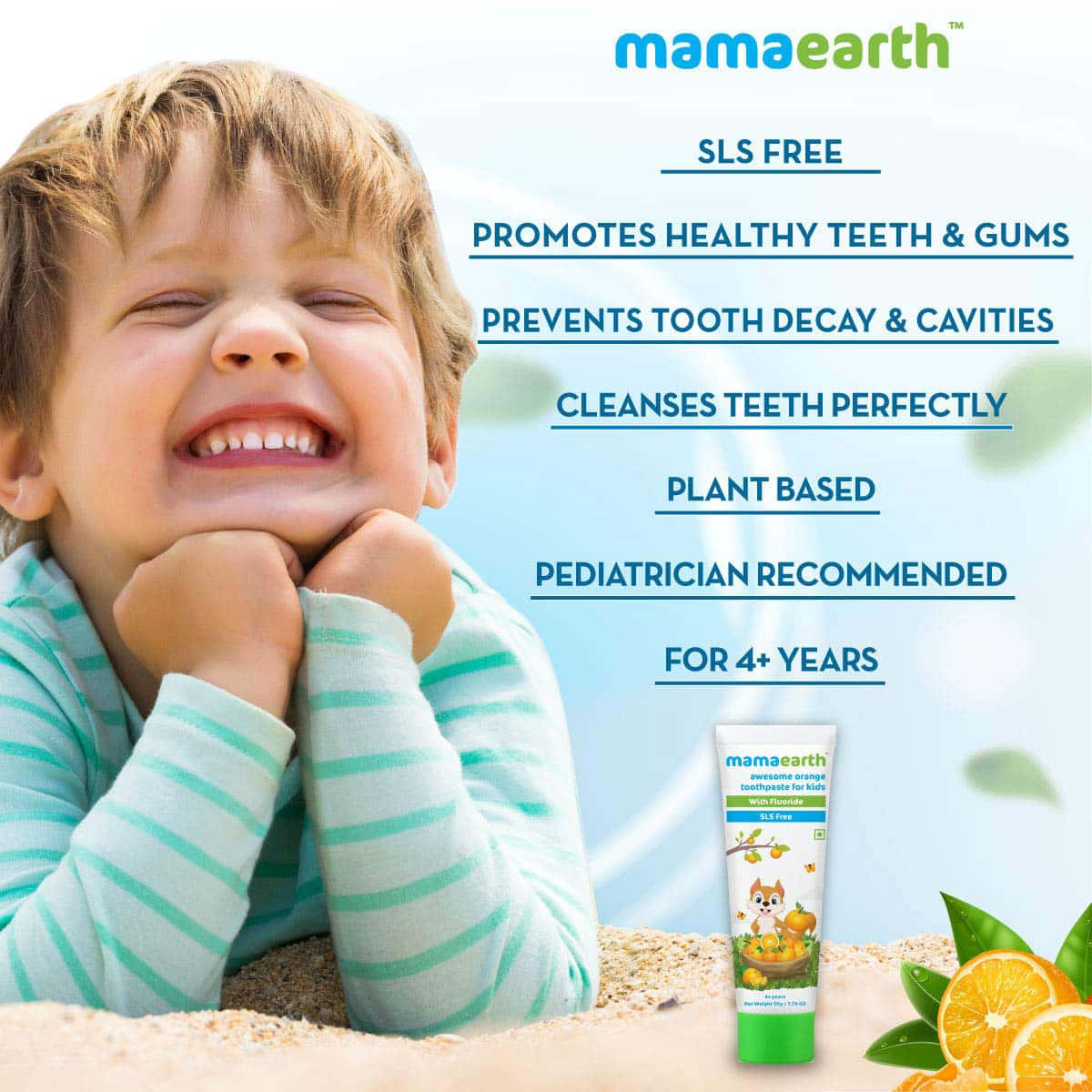 Mamaearth Natural Orange Toothpaste  Tube Of 50 G