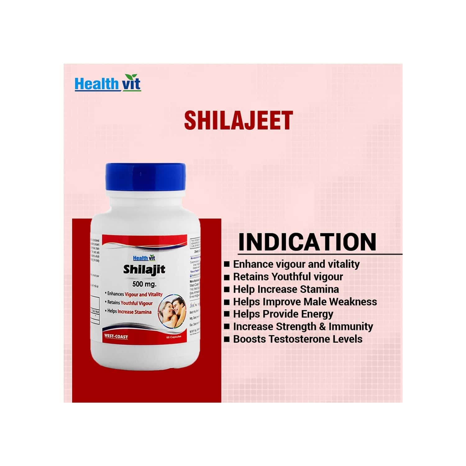 Healthvit Shilajit (asphaltum Extract Powder) - Increase Vigor And Vitality -500 Mg -60 Capsules