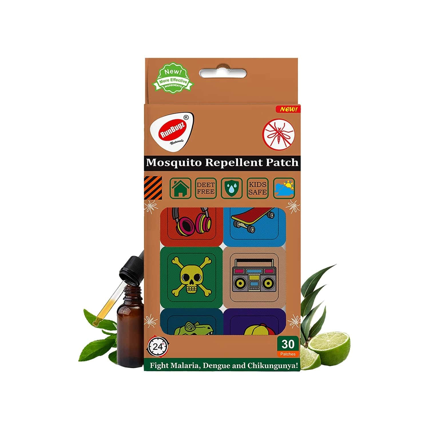 Runbugz Mosquito Repellent Skull Patches For Babies, 30 Patches