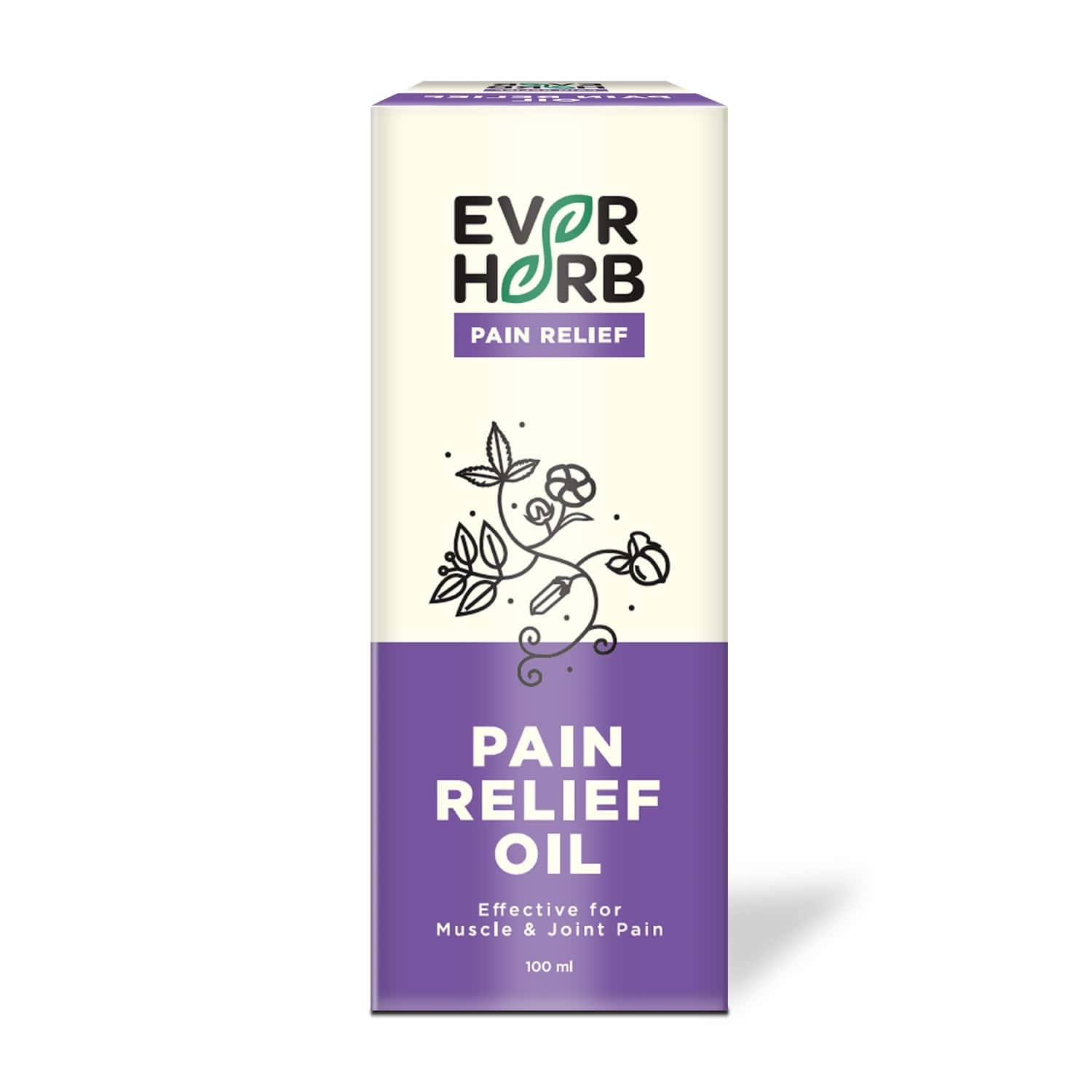 Everherb Pain Relief Oil - Blend Of 8 Powerful Herbal Ingredients - 100 Ml