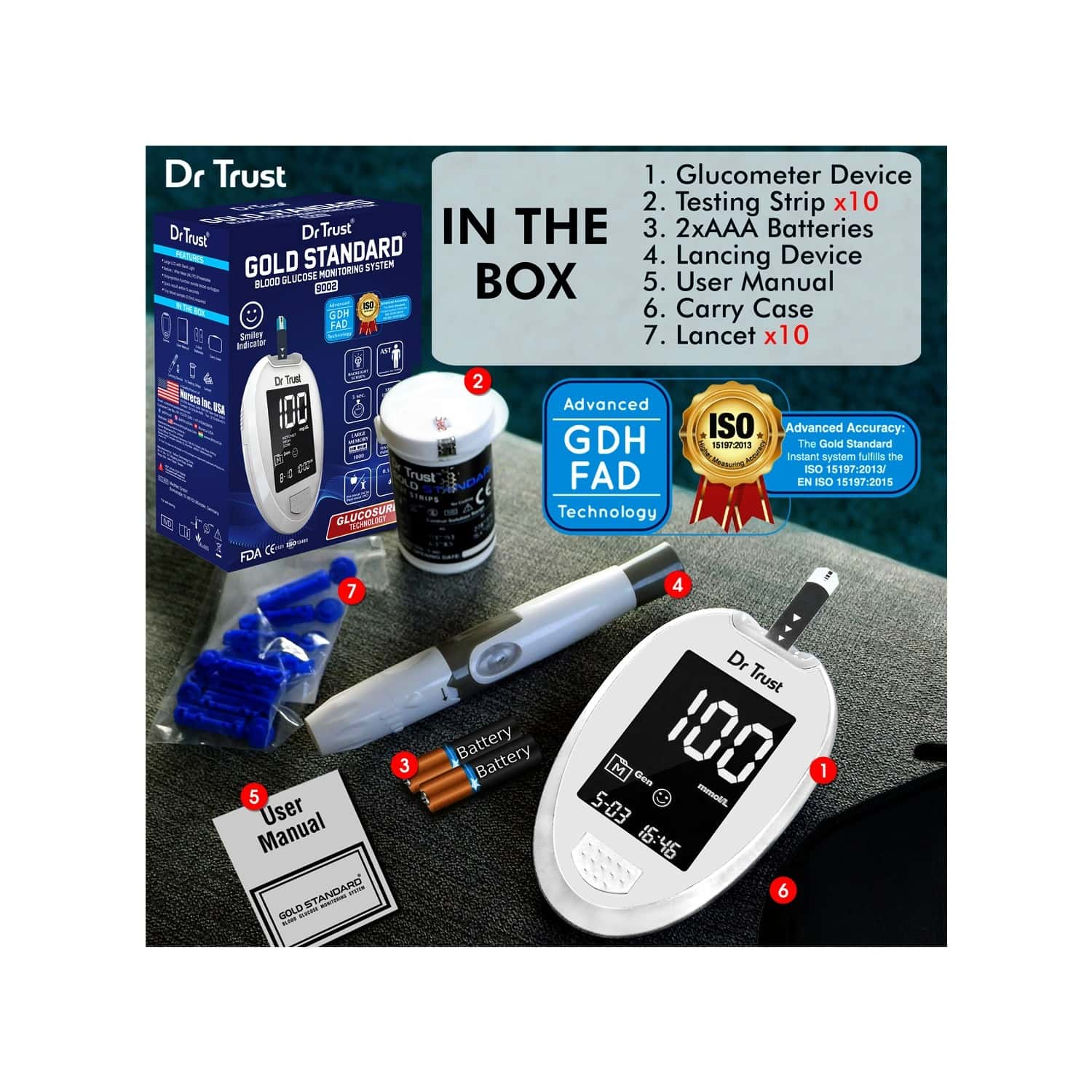 Dr Trust ( Usa ) Fully Automatic Blood Sugar Testing Glucometer Machine With 10 Strips