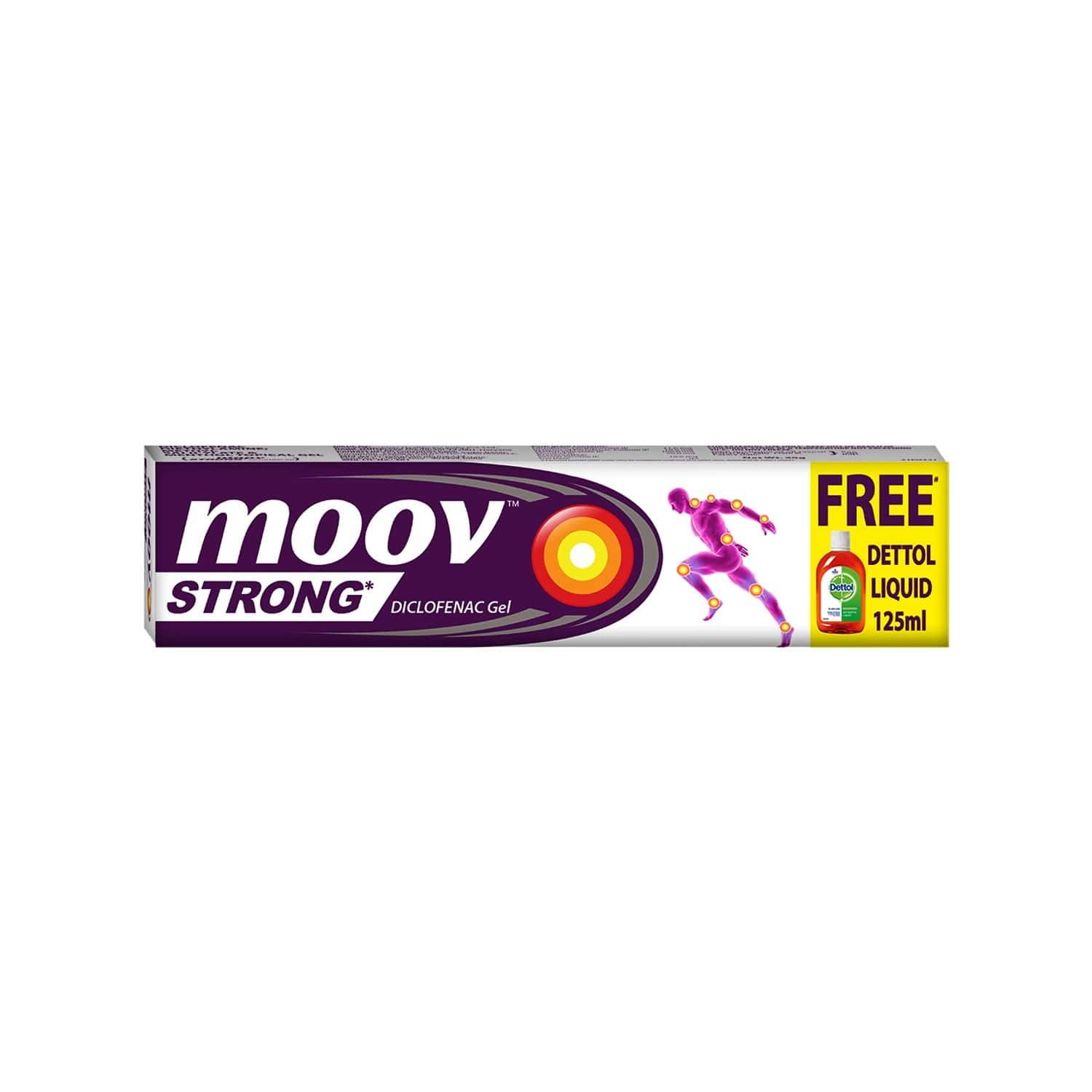 Moov Strong Diclofenac Pain Relief Gel 50g With Free Dettol Antiseptic Liquid - 125ml