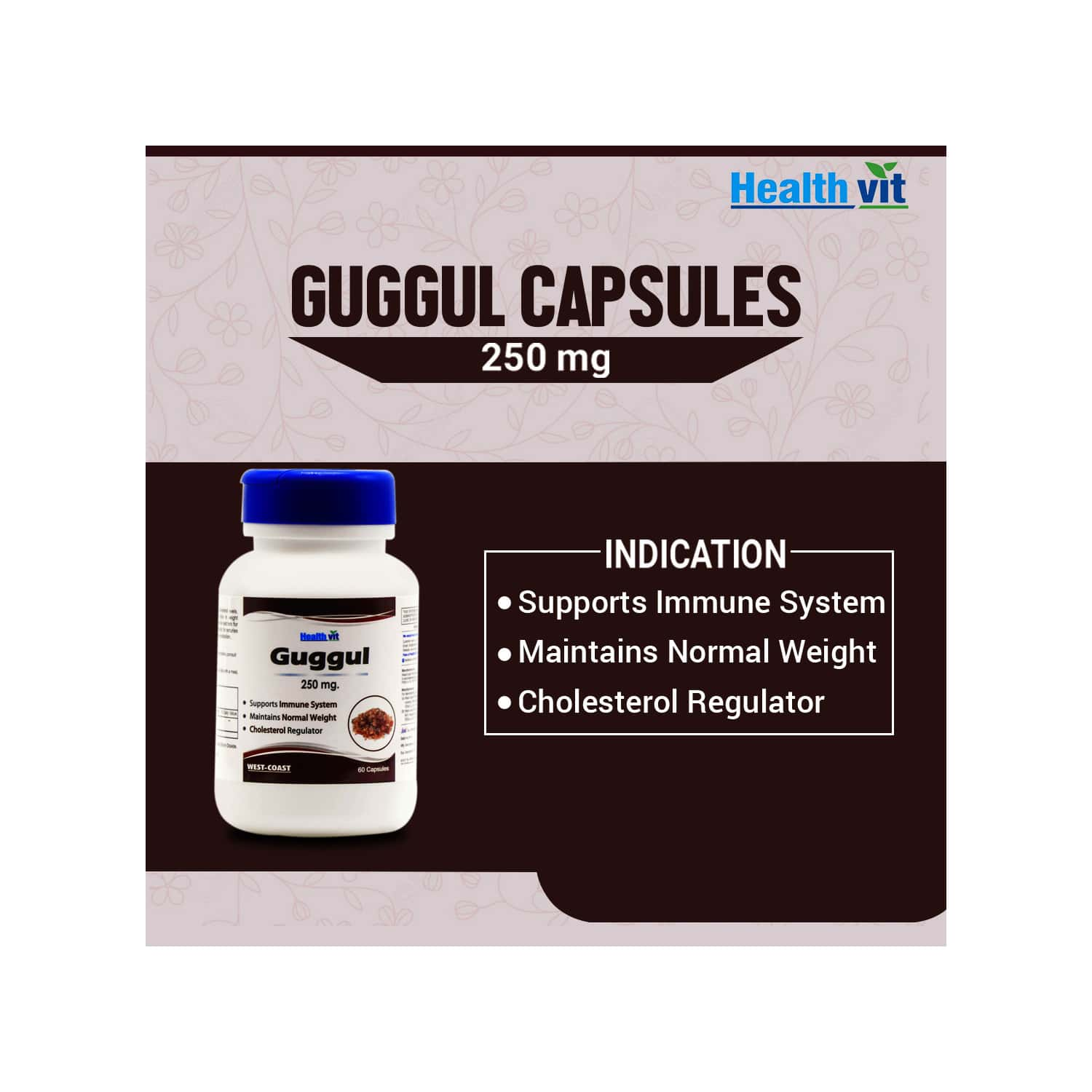 Healthvit Guggul Powder 250 Mg For Weight Management -60 Capsules