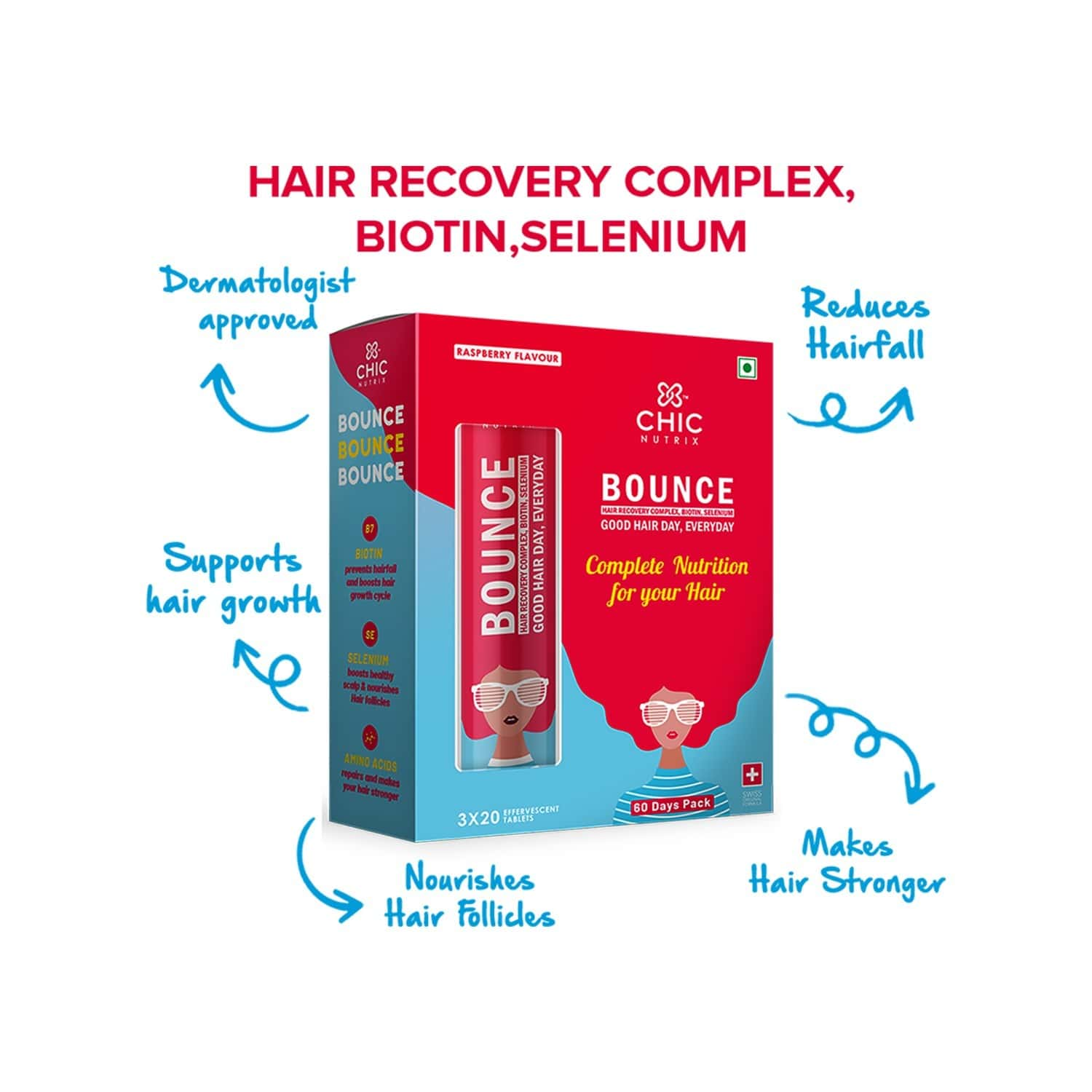 Chicnutrix Bounce - Hair Recovery Complex, Biotin, Selenium For A Good Hair Day, Everyday - 60 Effervescent Tablets - Raspberry Flavour