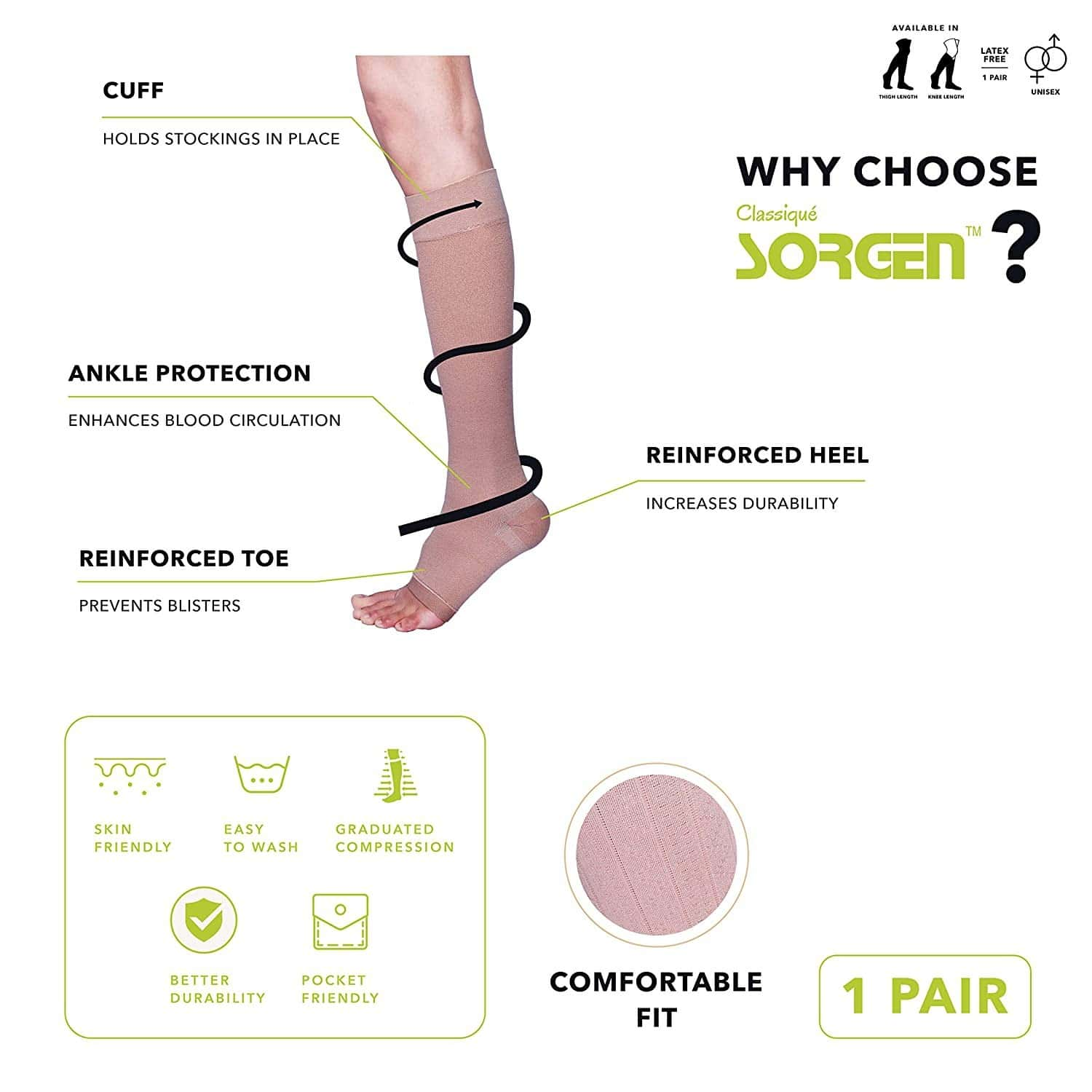 Sorgen Classique (lycra) Medical Compression Stockings For Varicose Veins Class 2 Knee Length In Eco-friendly Zip Pouch - Large