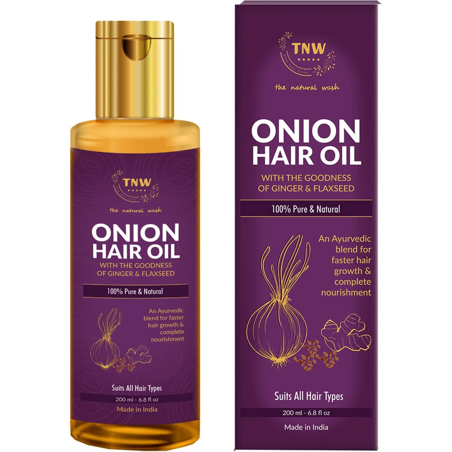 Tnw -the Natural Wash Onion Hair Oil For Hair Growth With Complete Hair Nourishment - 200 Ml